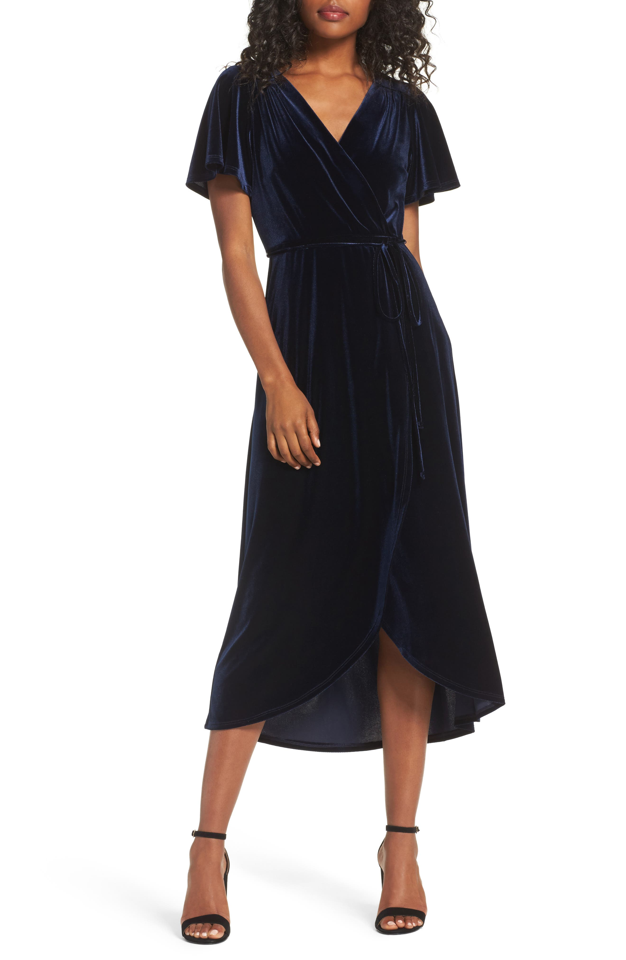 70s Prom, Formal, Evening, Party Dresses Womens Chelsea28 Velvet Faux Wrap Midi Dress Size Large - Blue $77.40 AT vintagedancer.com