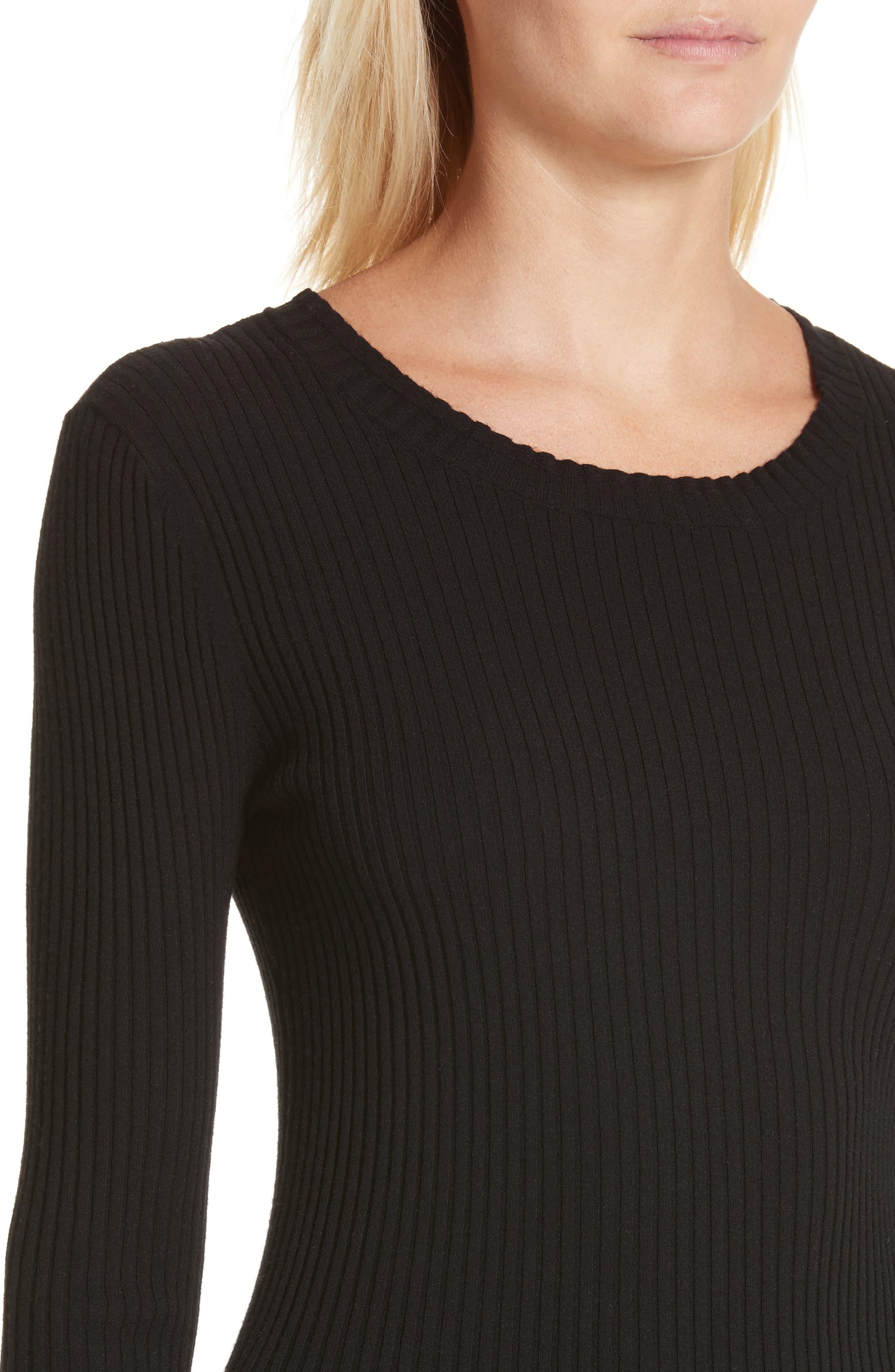 Rib Knit Scoop Neck Sweater,                             Alternate thumbnail 4, color,                             001