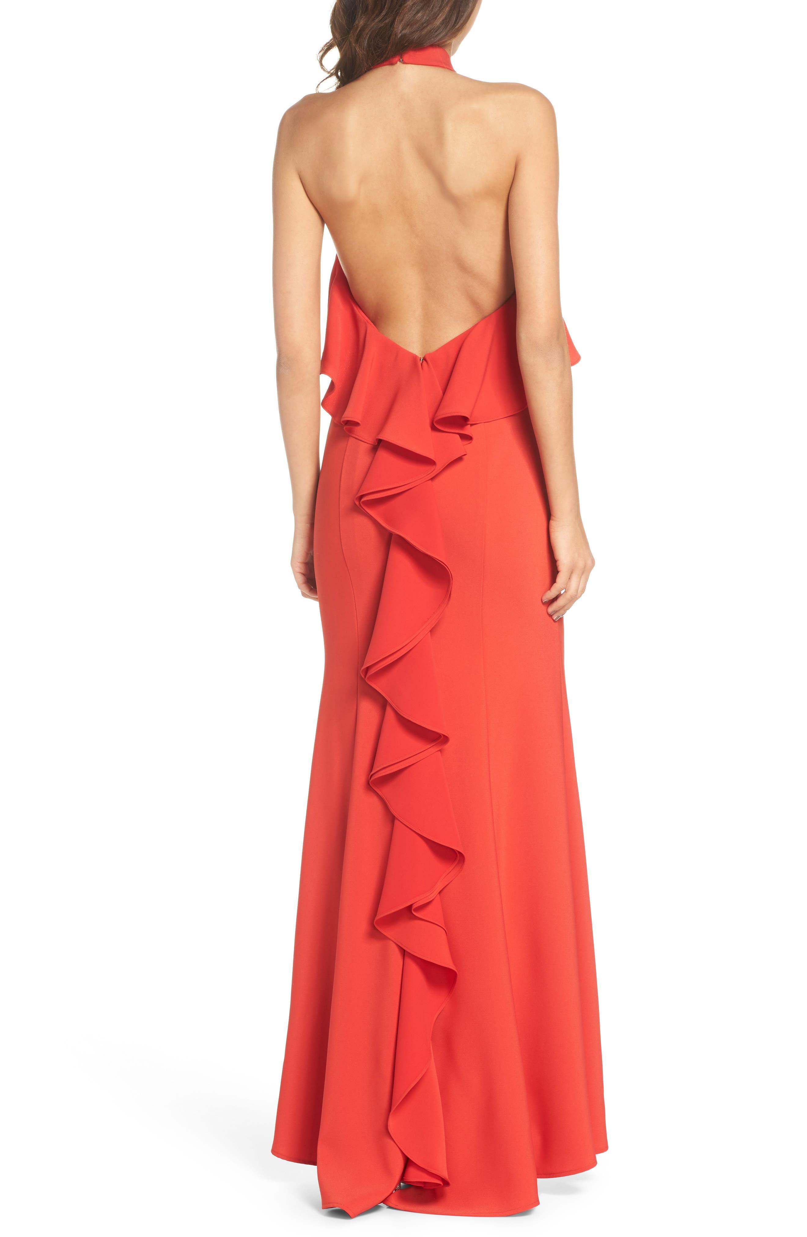 Crepe Popover Halter Gown,                             Alternate thumbnail 2, color,                             602