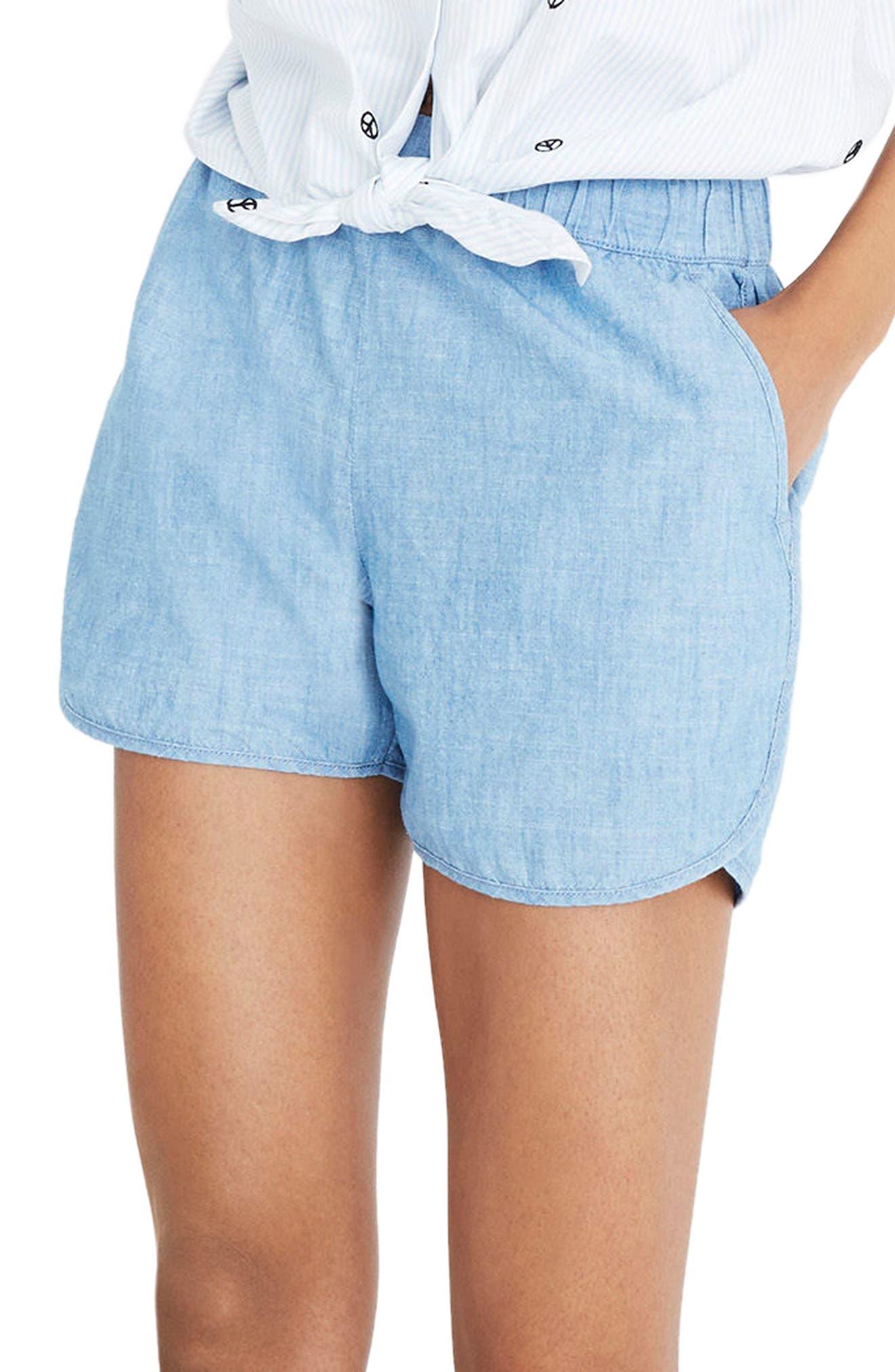 Chambray Pull-On Shorts,                             Main thumbnail 1, color,