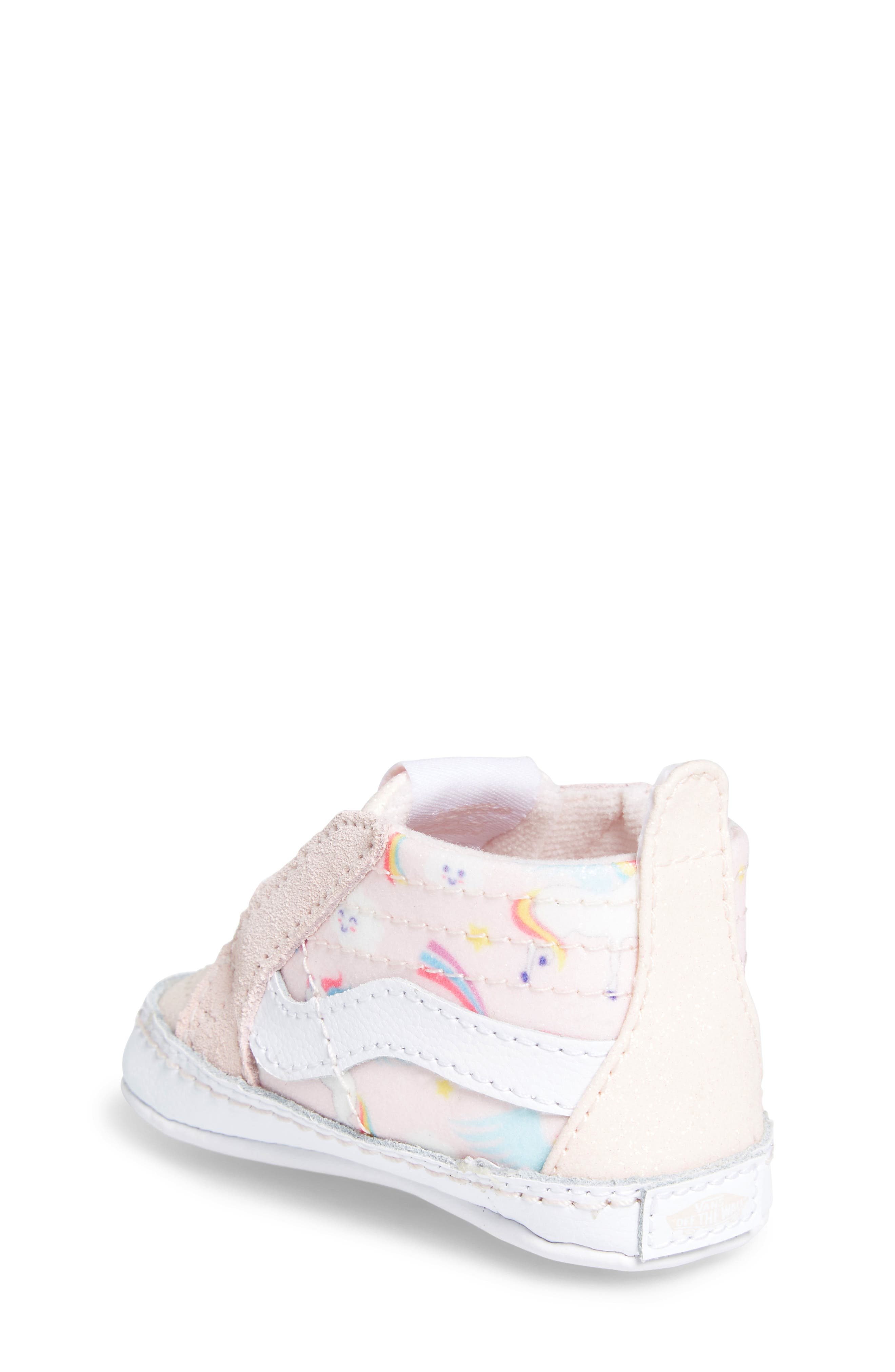 'SK8-Hi' Crib Sneaker,                             Alternate thumbnail 2, color,                             GLITTER PEGASUS PINK/ WHITE
