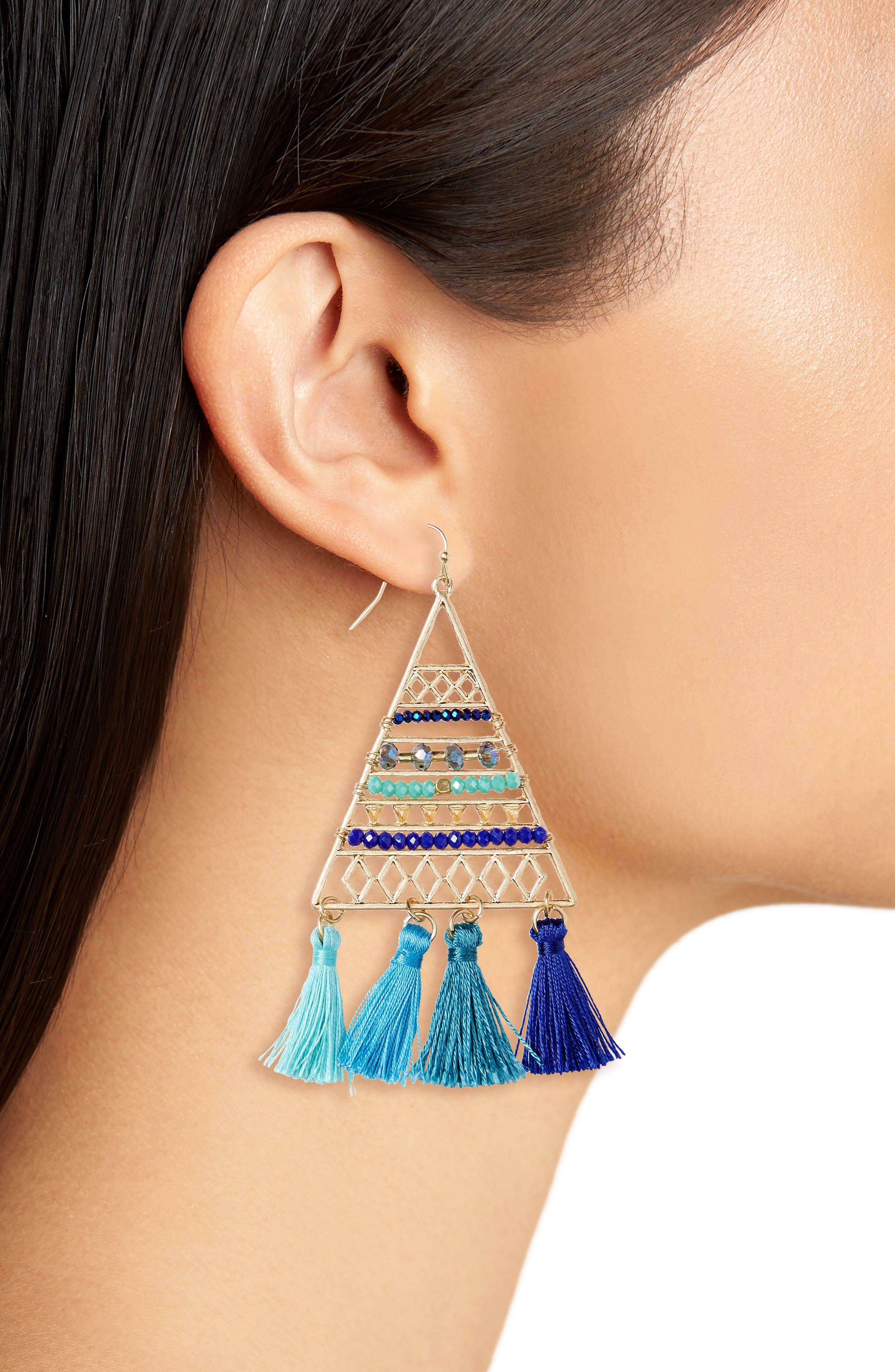 Triangle Bead & Tassel Earrings,                             Alternate thumbnail 2, color,                             430