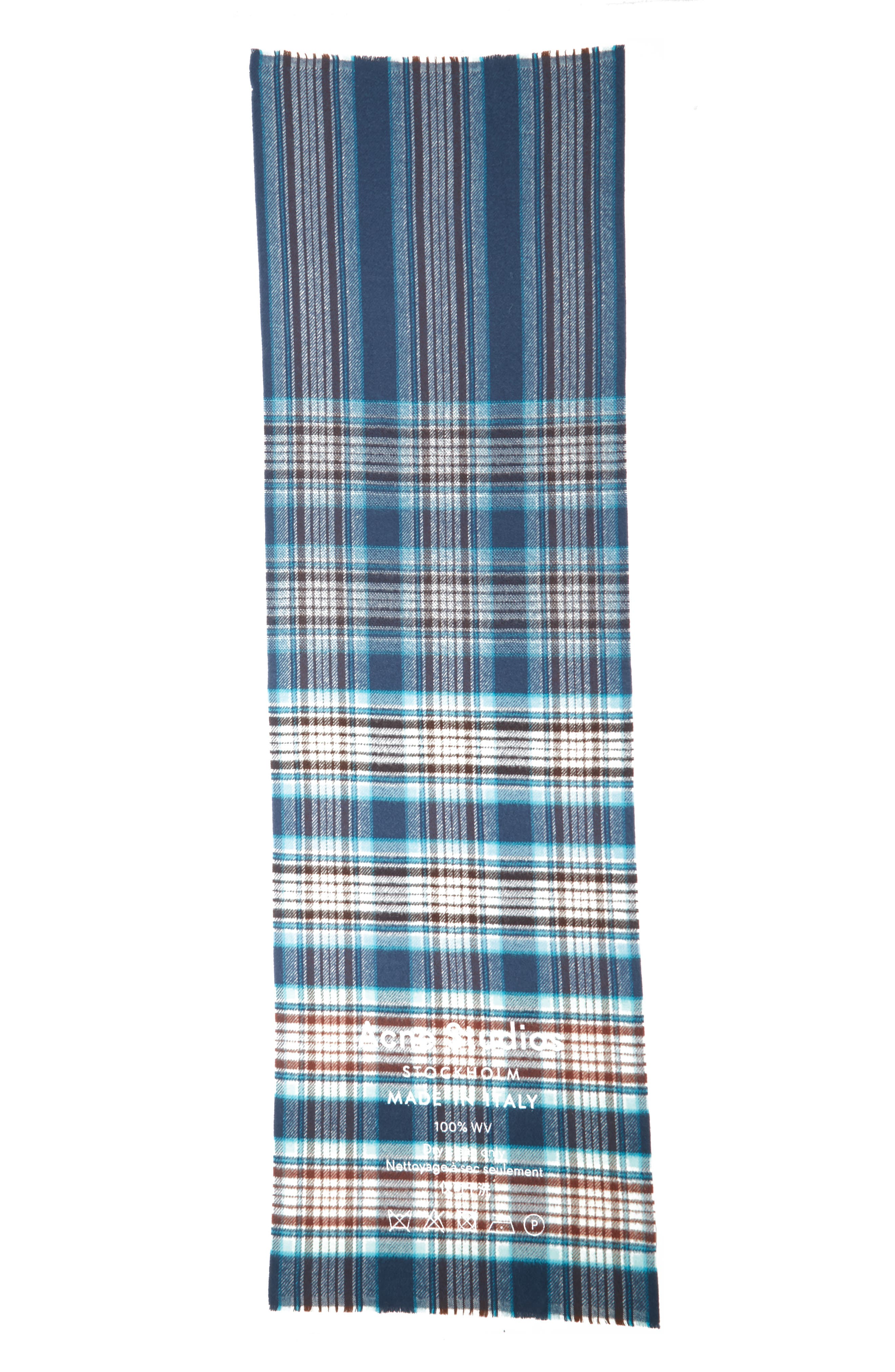 Check Wool Scarf,                             Alternate thumbnail 2, color,                             OATMEAL BEIGE / BLUE CHECK