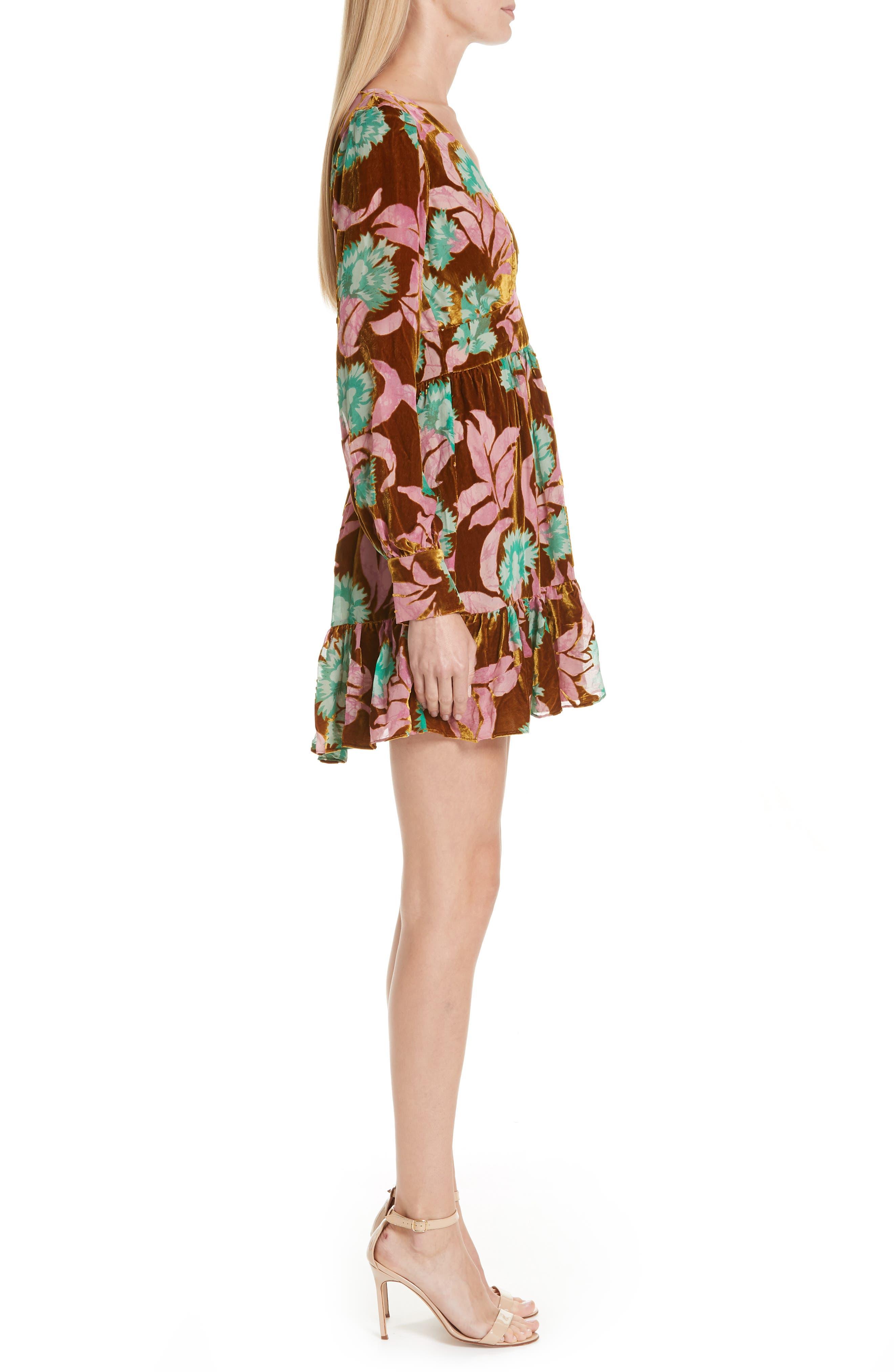 Pia Velvet Devoré Dress,                             Alternate thumbnail 3, color,                             650