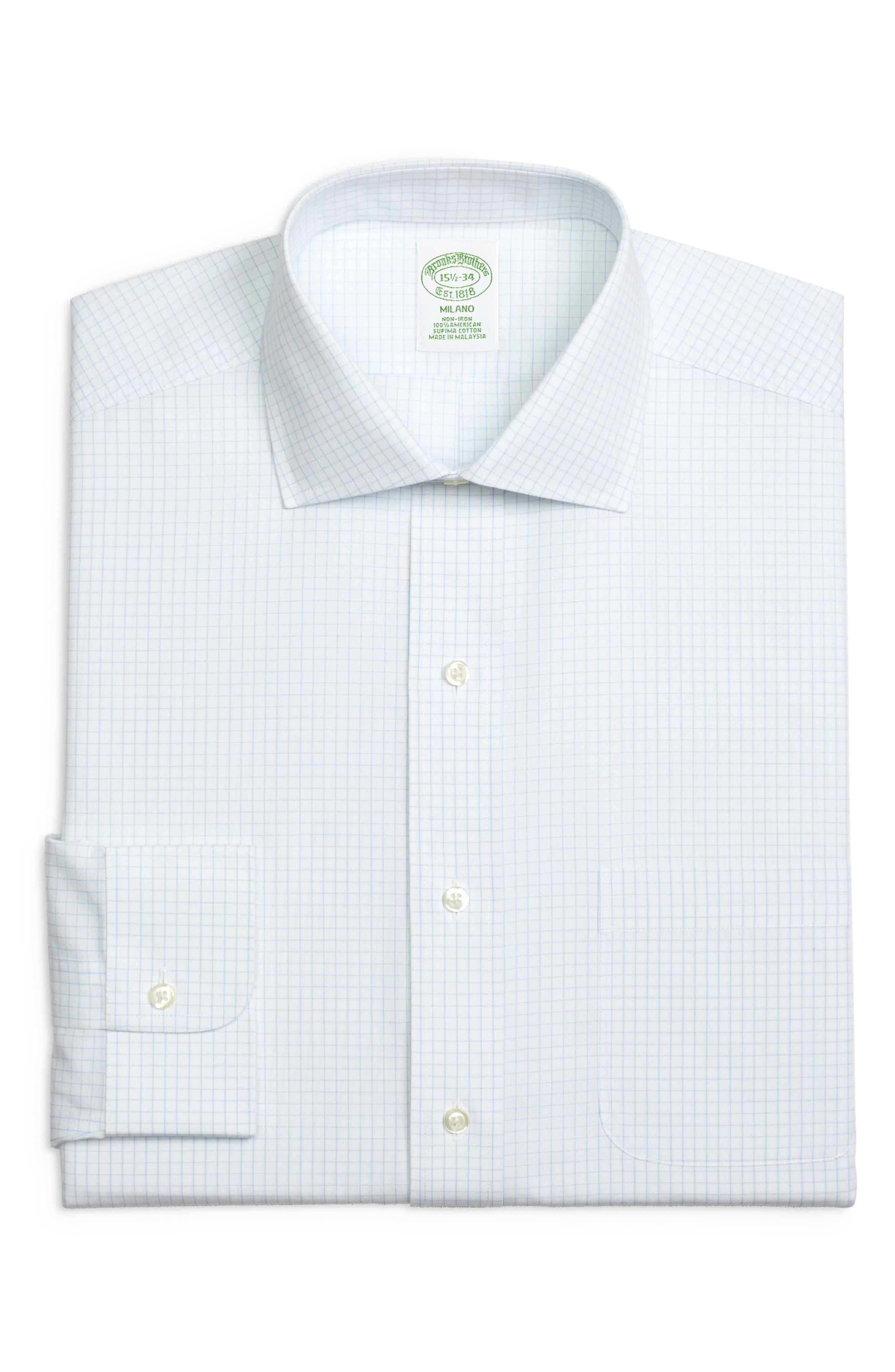 Trim Fit Check Dress Shirt,                         Main,                         color, LIGHT/ PASTEL BLUE