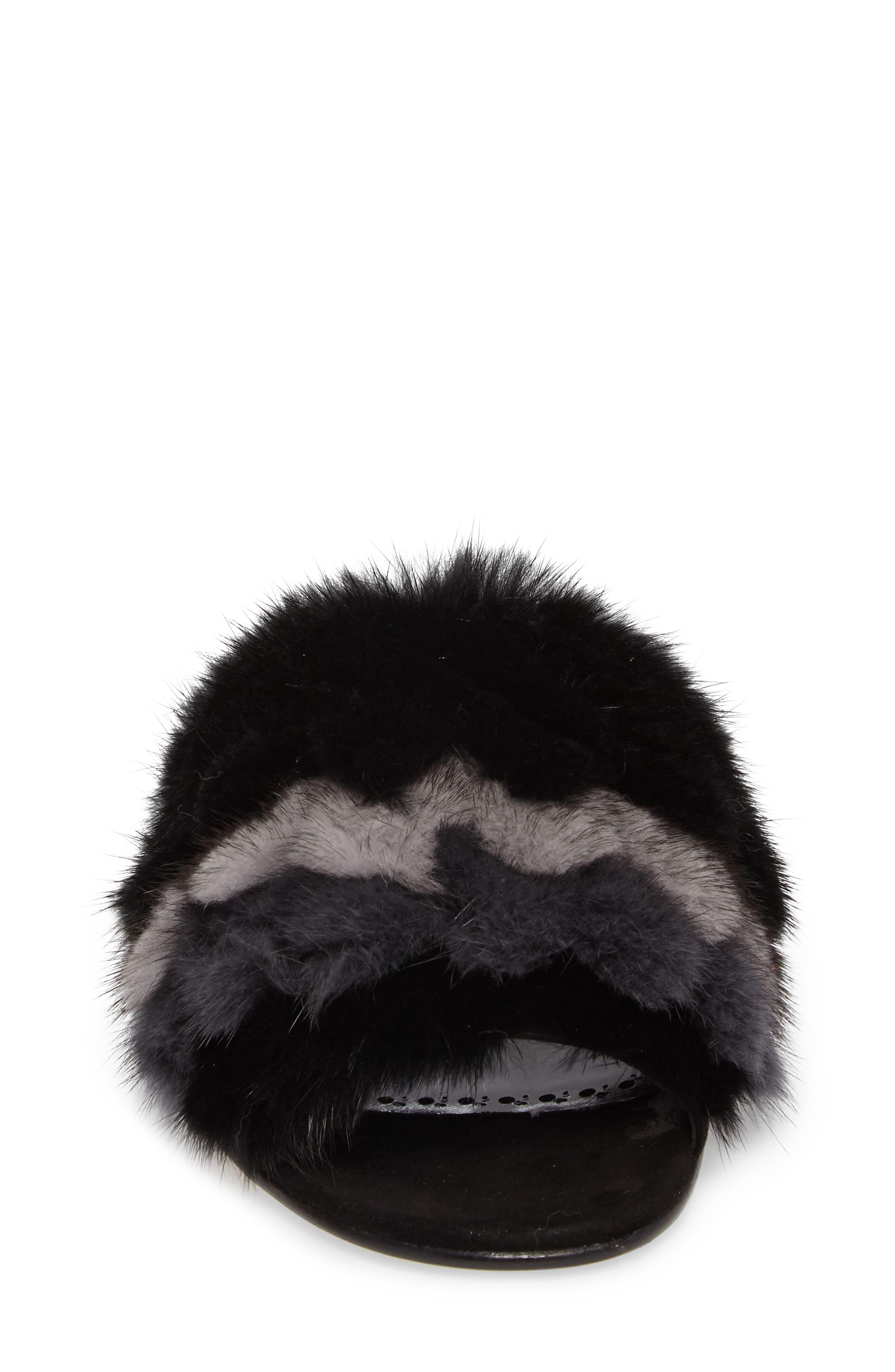 Pelosusmin Genuine Mink Fur Slide Sandal,                             Alternate thumbnail 4, color,                             001