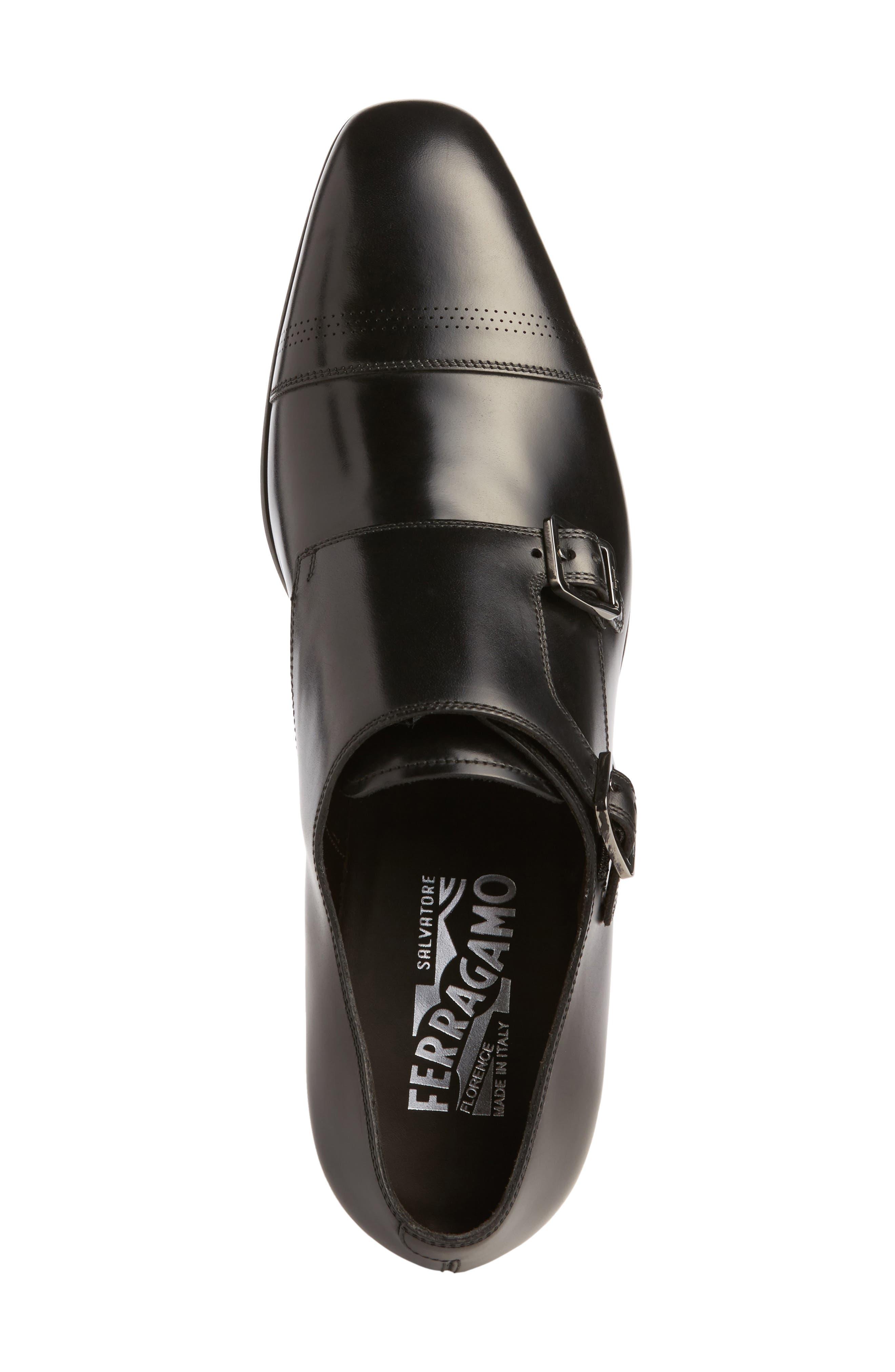 Defoe Double Monk Strap Shoe,                             Alternate thumbnail 5, color,                             001