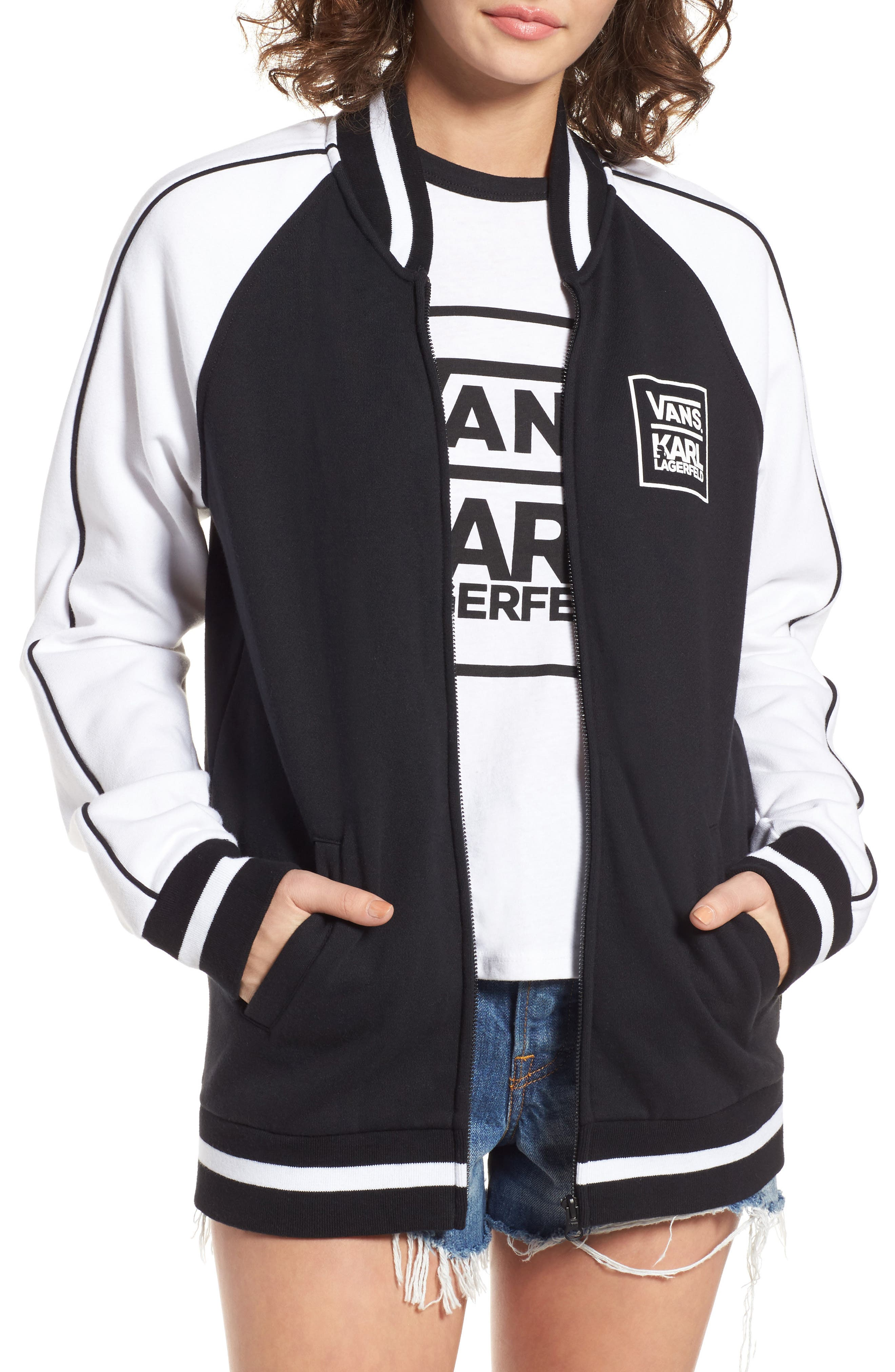 x KARL LAGERFELD Bomber Jacket,                         Main,                         color, 001