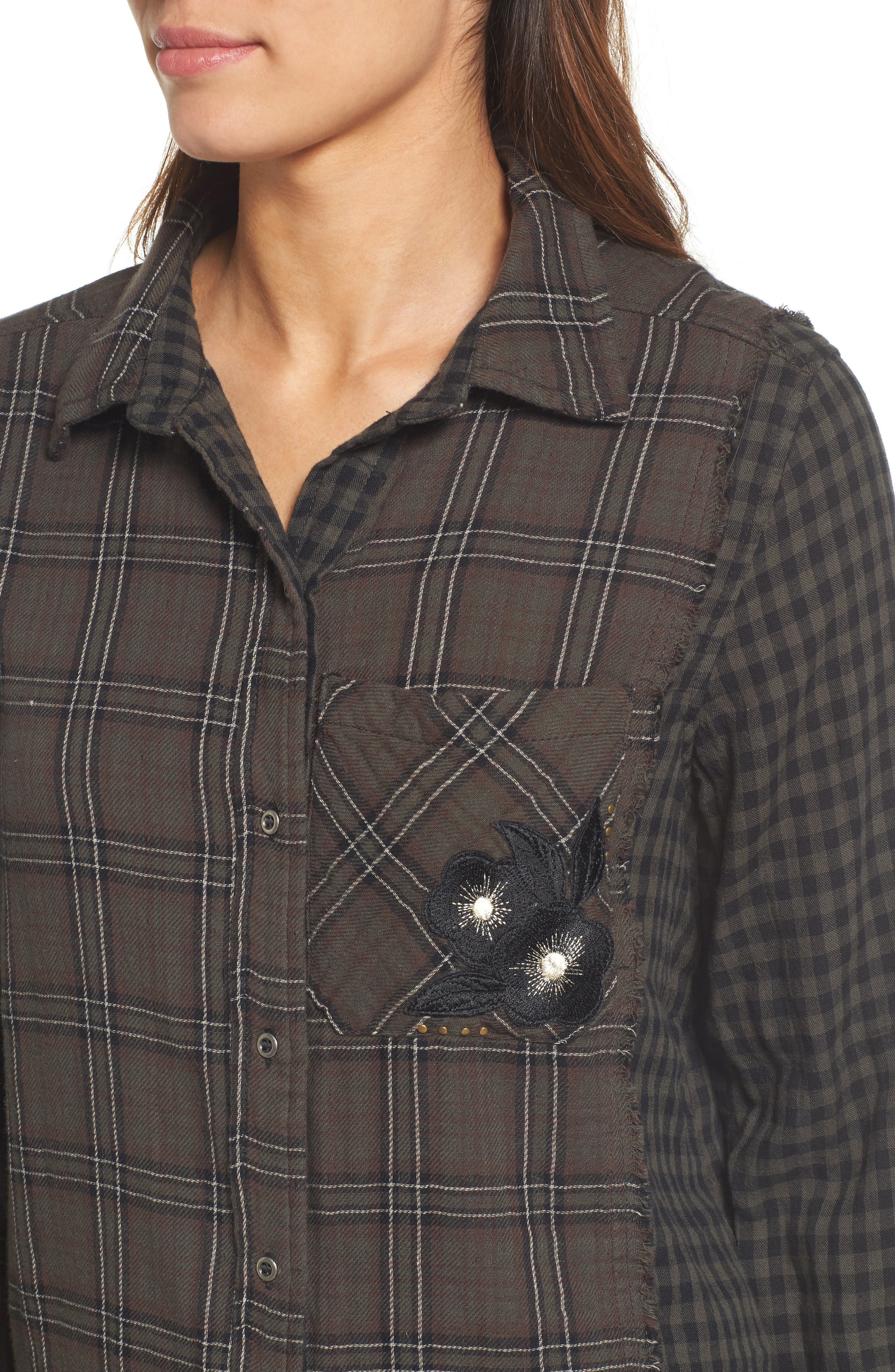 Contrast Sleeve Button-Down Top,                             Alternate thumbnail 4, color,