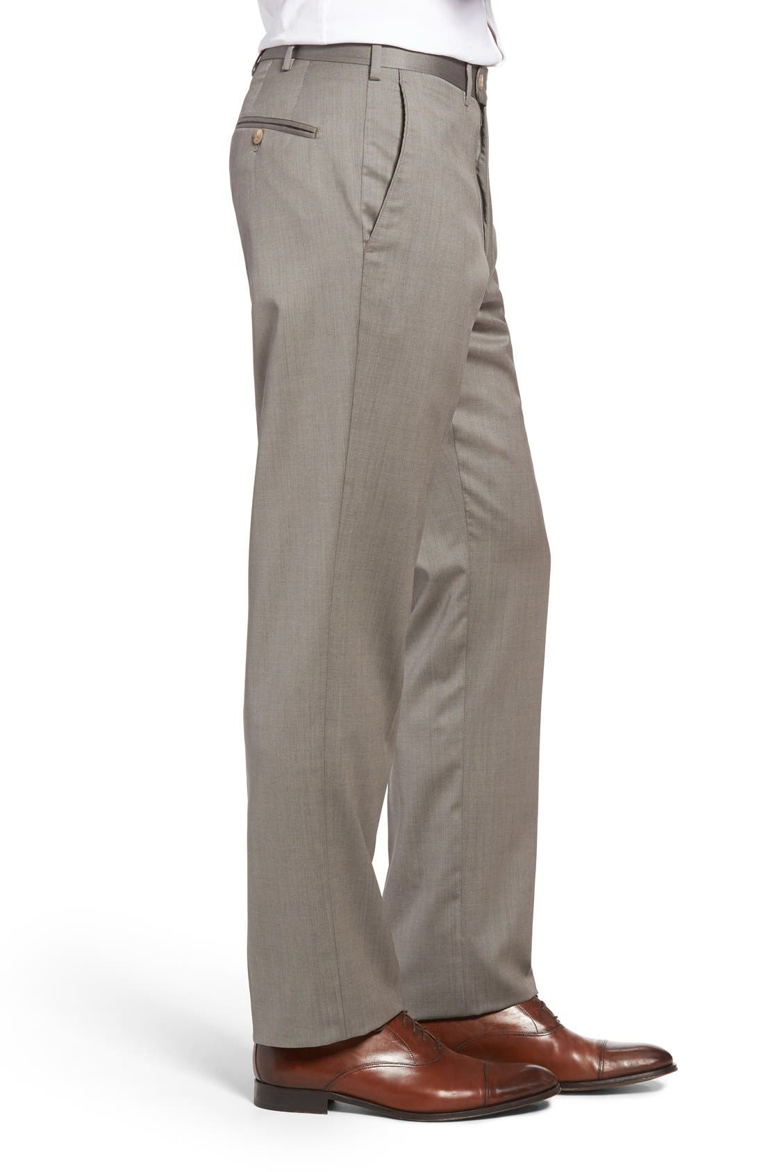 Flat Front Worsted Wool Trousers,                             Alternate thumbnail 27, color,