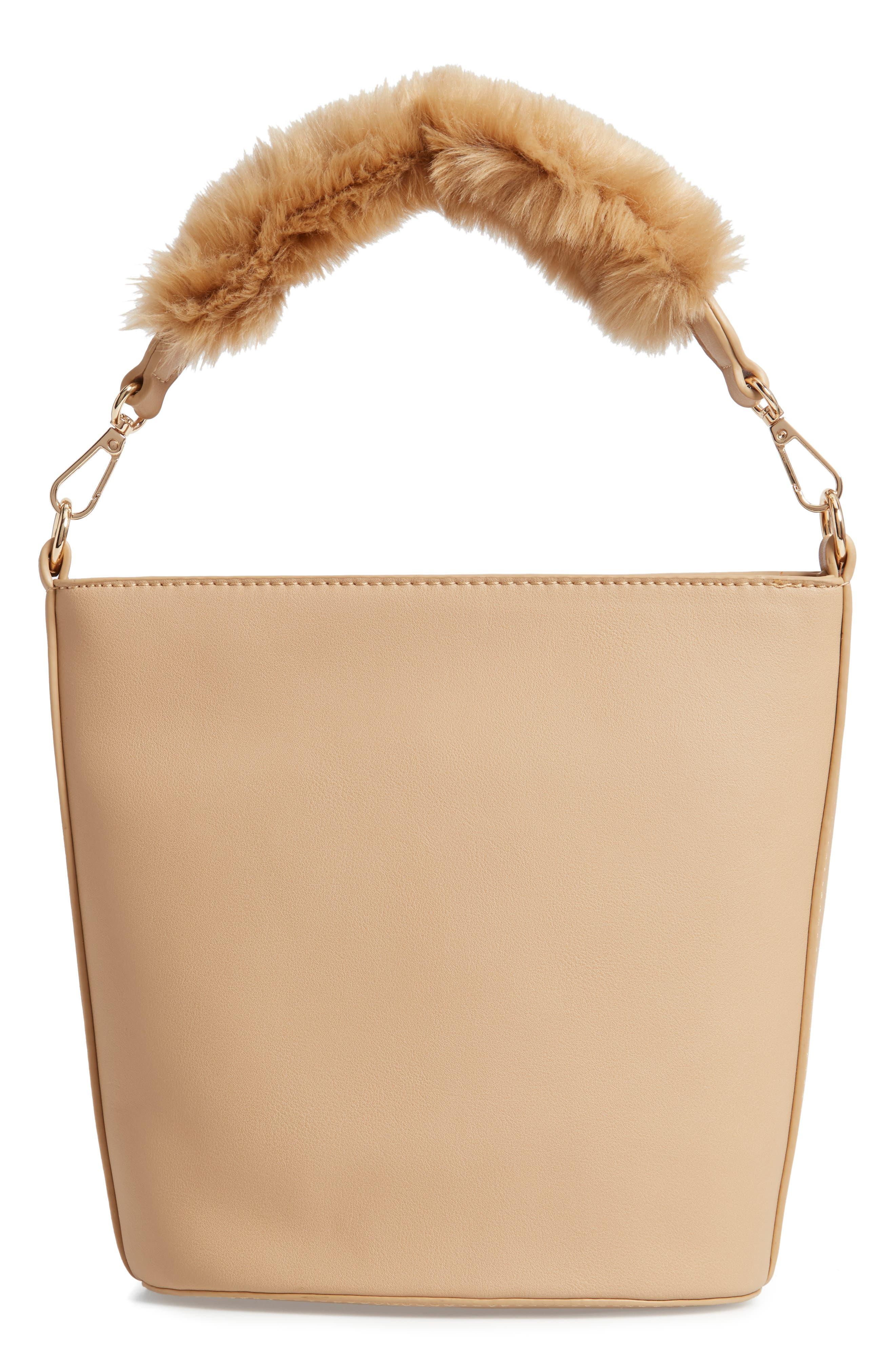 Faux Fur Handle Medium Crossbody Bag,                             Alternate thumbnail 4, color,                             TAN