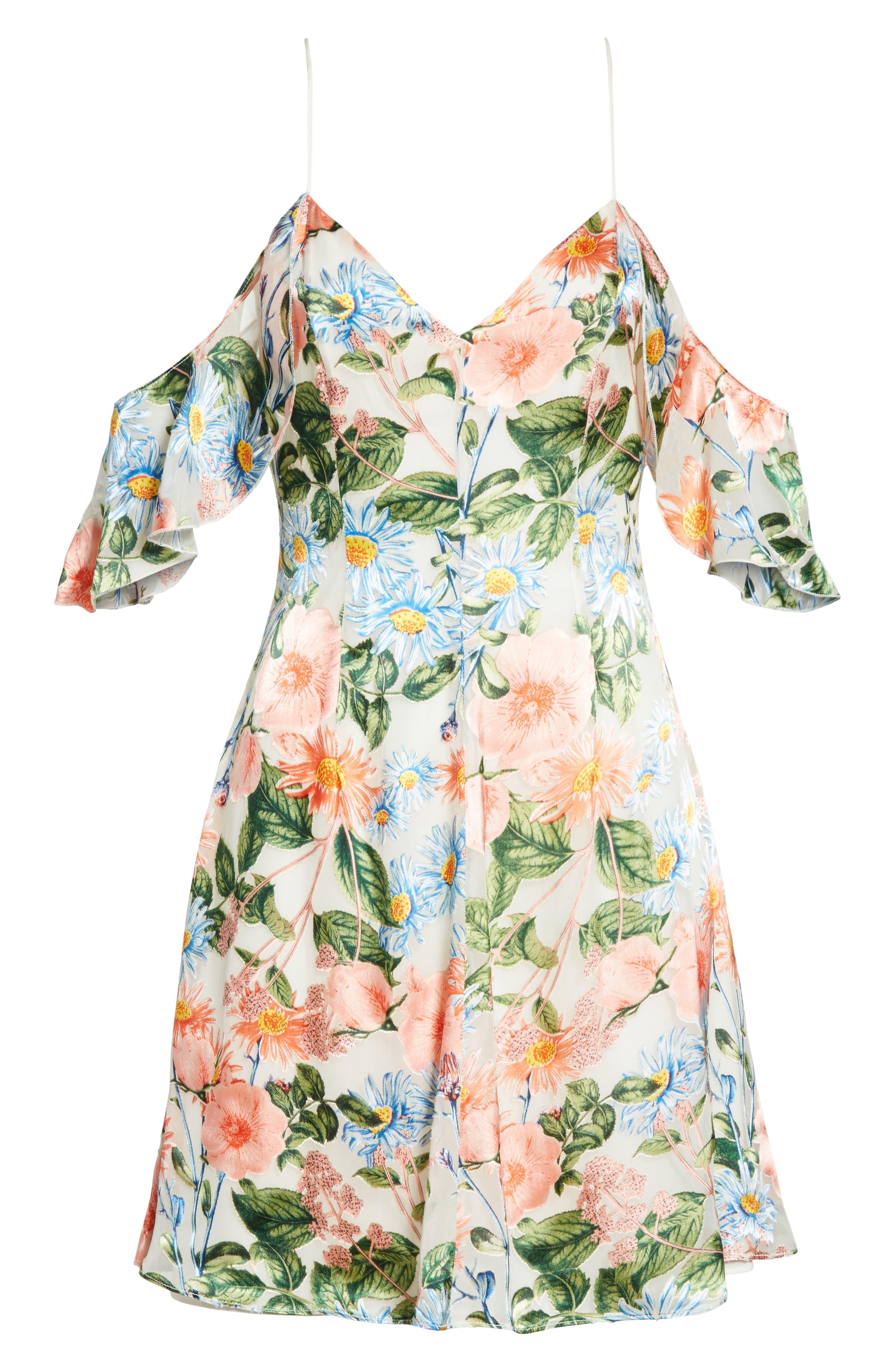 Alves Floral Cold Shoulder Dress,                             Alternate thumbnail 6, color,
