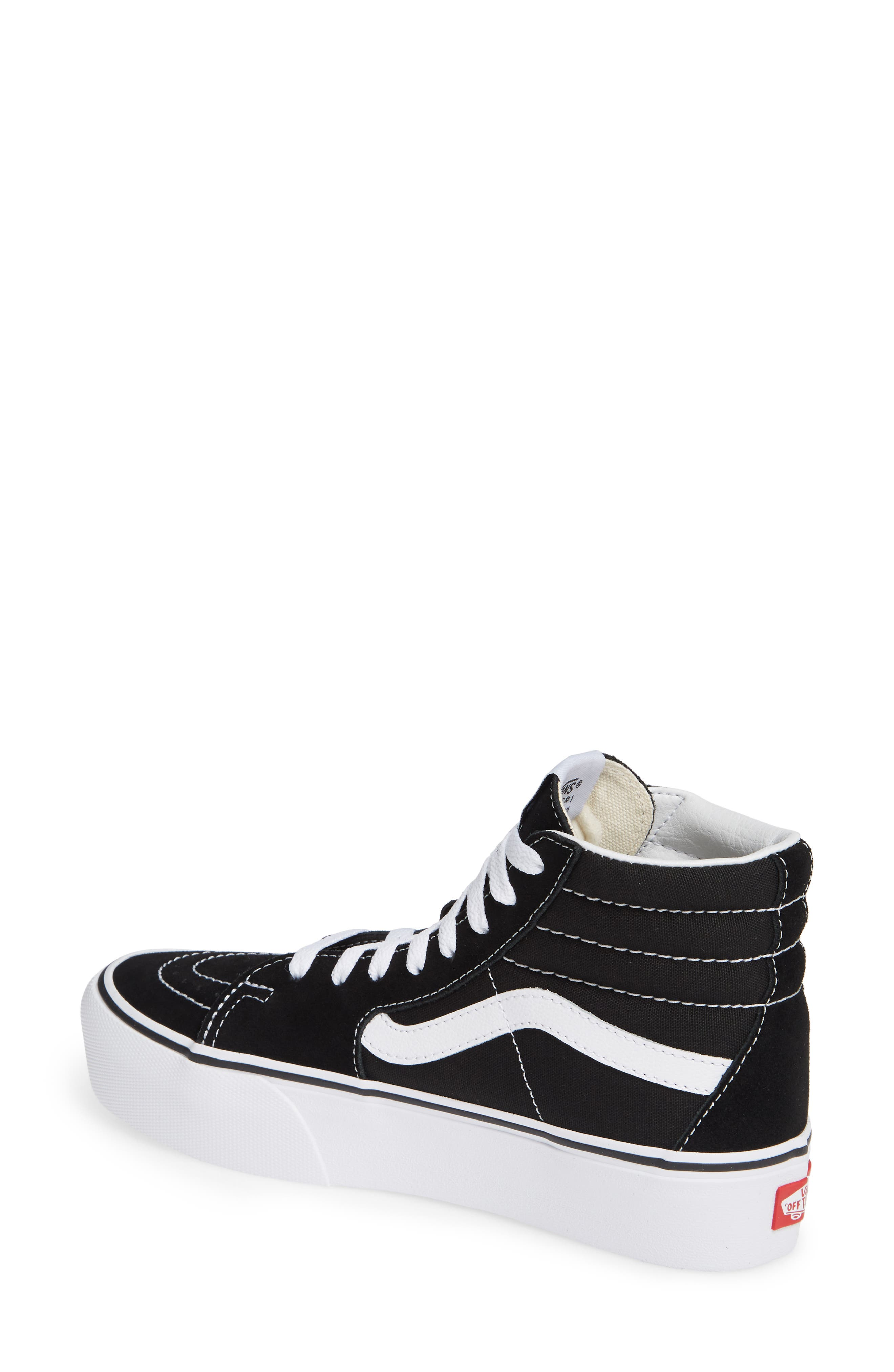 Sk8-Hi Platform Sneaker,                             Alternate thumbnail 2, color,                             BLACK/ TRUE WHITE