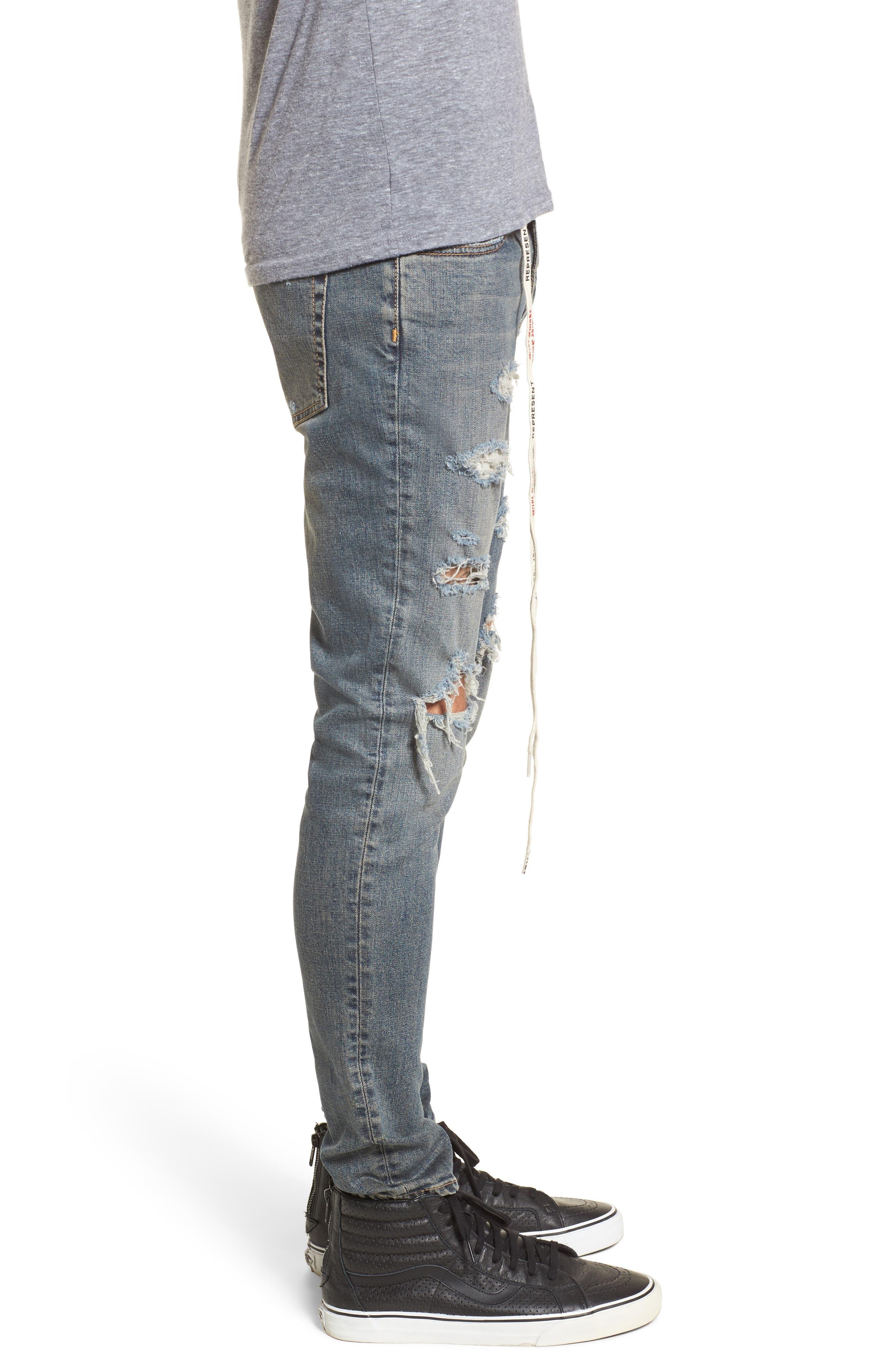 Repairer Slim Fit Denim Pants,                             Alternate thumbnail 3, color,                             ROCKSTAR BLUE