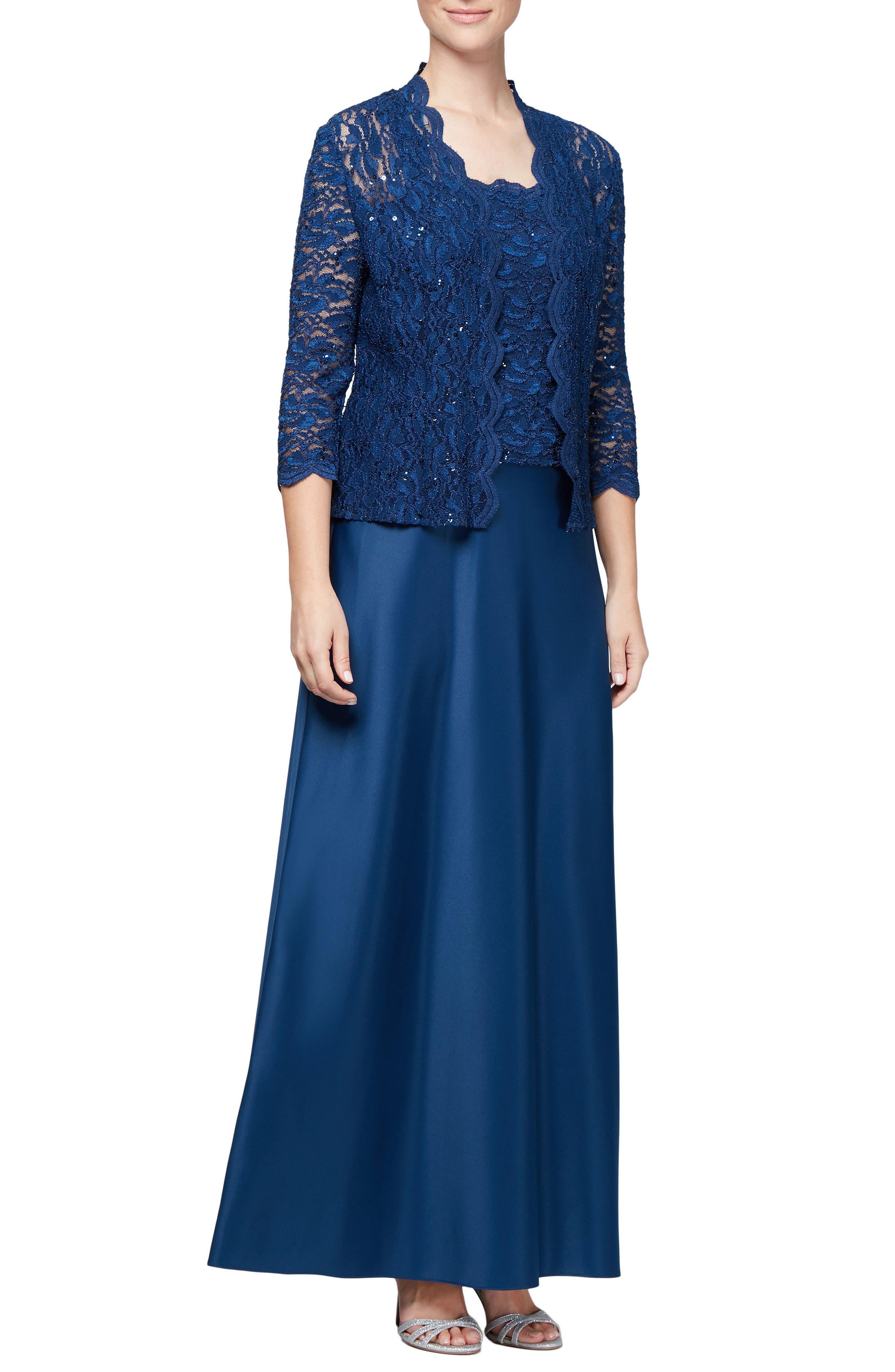 Sequin Lace Gown & Jacket,                         Main,                         color, COBALT