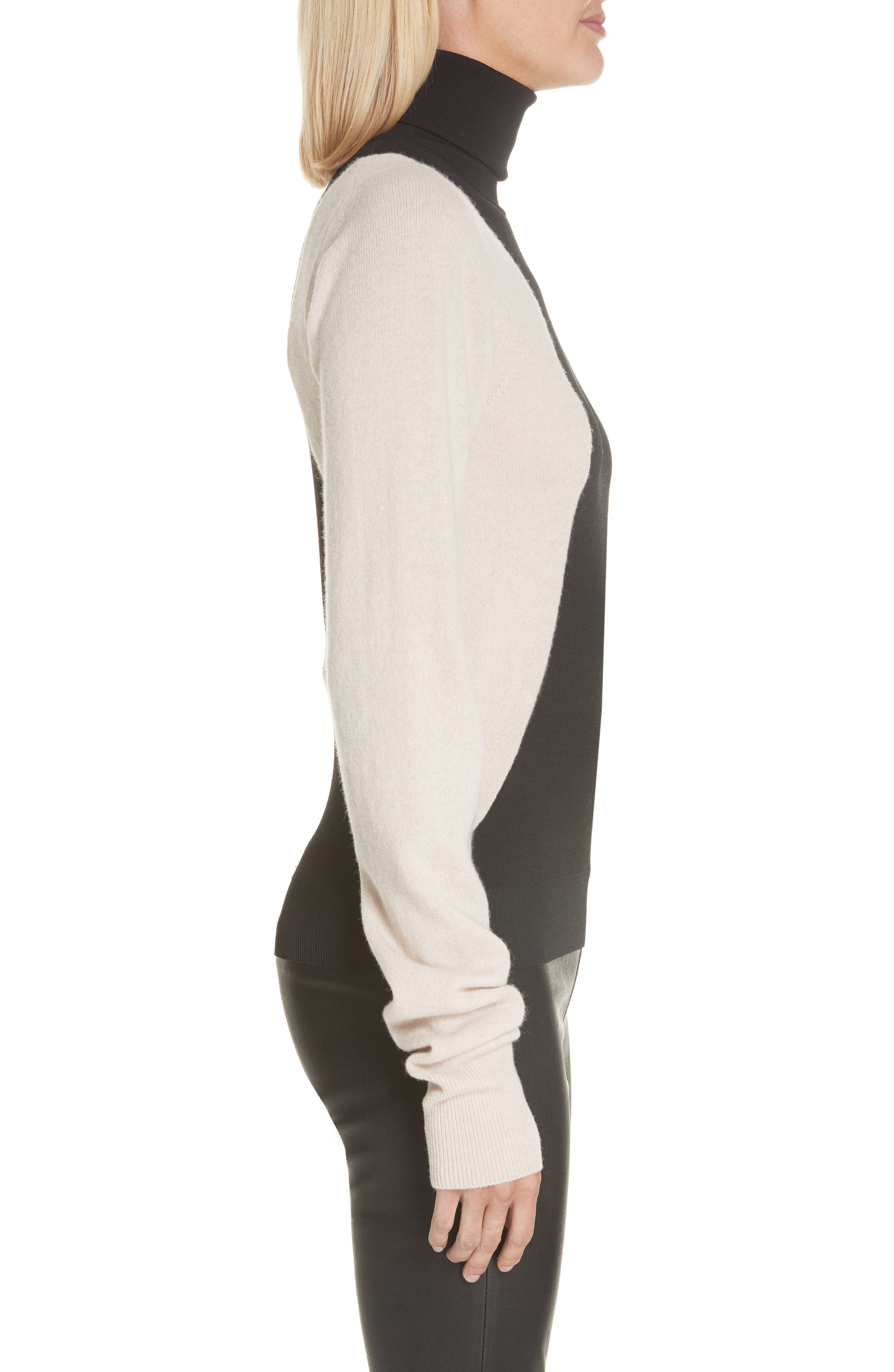 Colorblock Wool Blend Turtleneck Sweater,                             Alternate thumbnail 3, color,                             BLACK/ NUT
