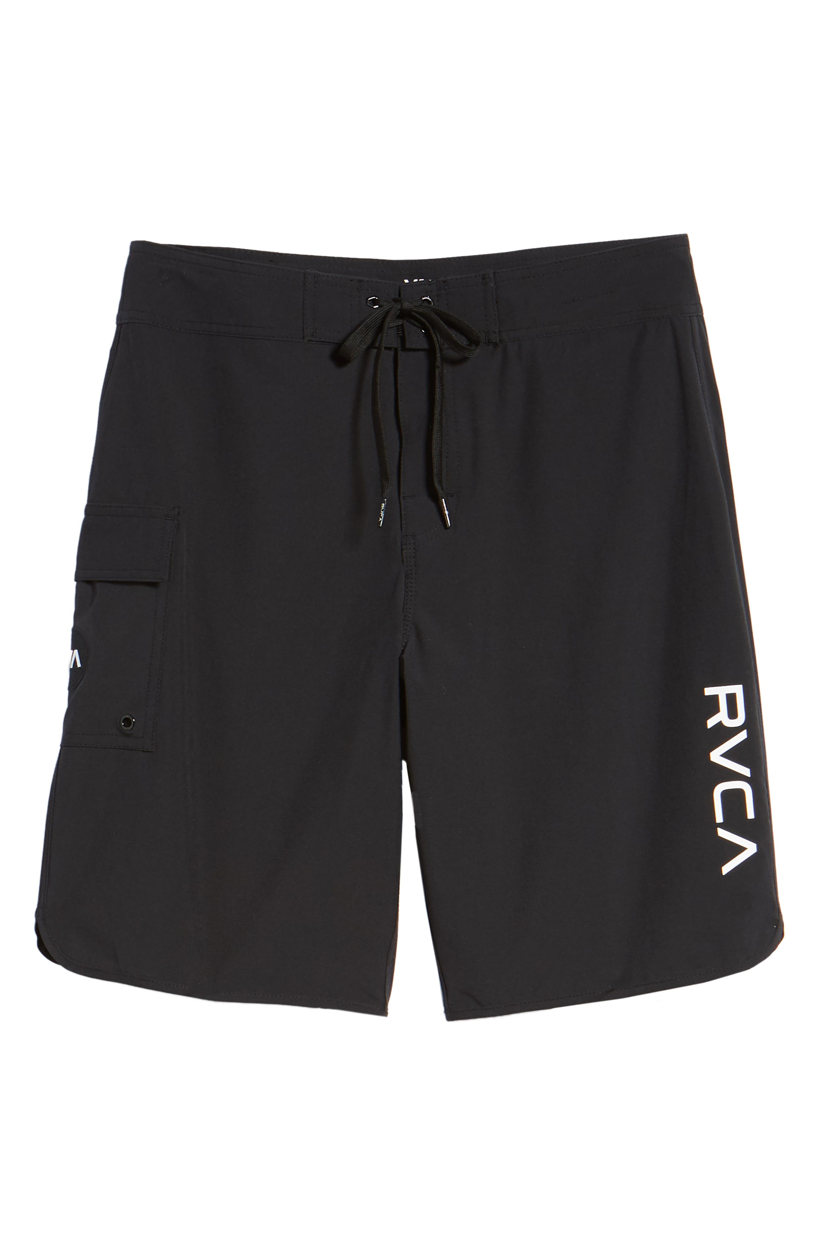 'Eastern' Scalloped Hem Board Shorts,                             Alternate thumbnail 6, color,                             ALL BLACK