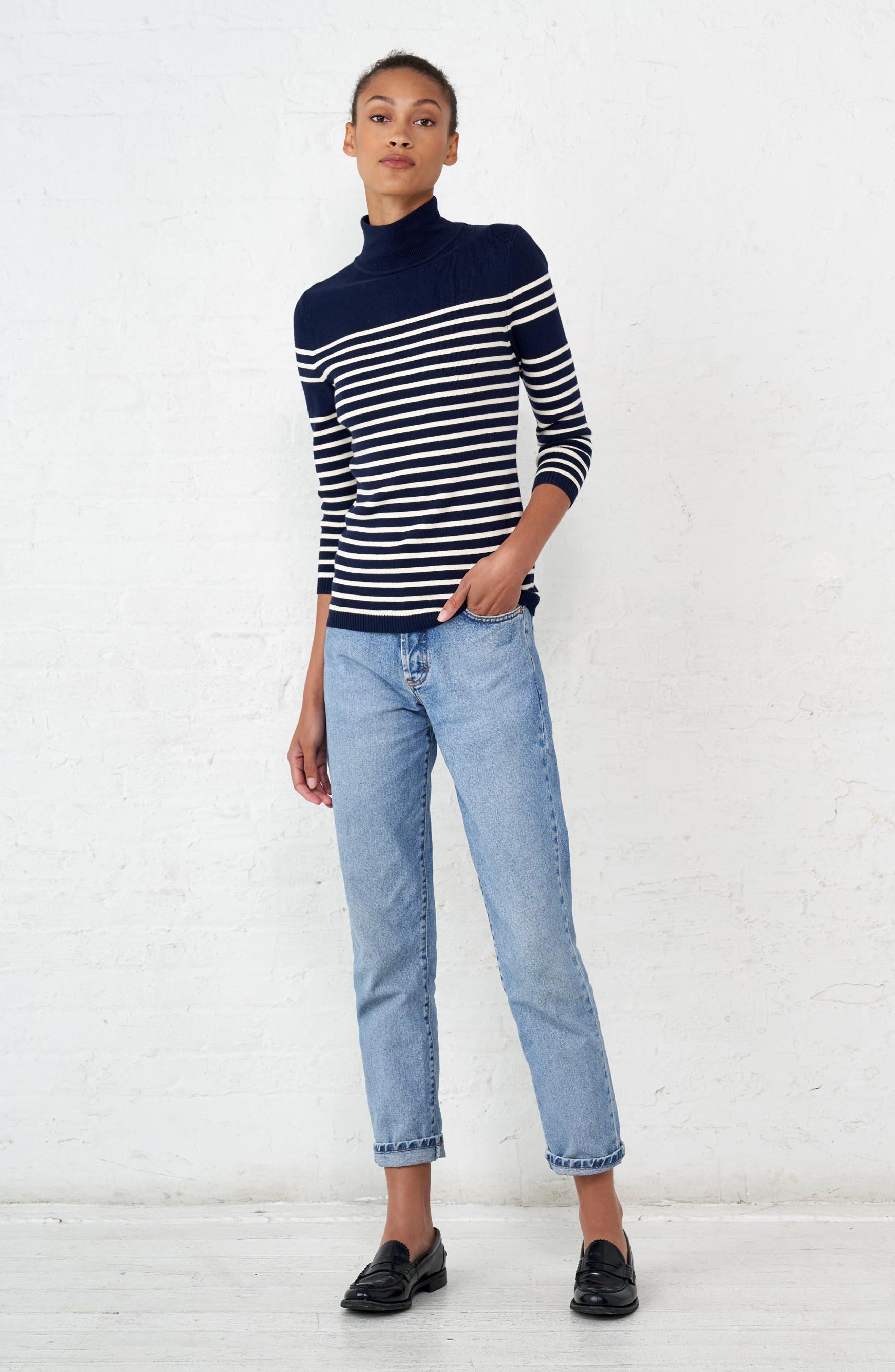 Classique Stripe Sweater,                             Alternate thumbnail 8, color,                             401