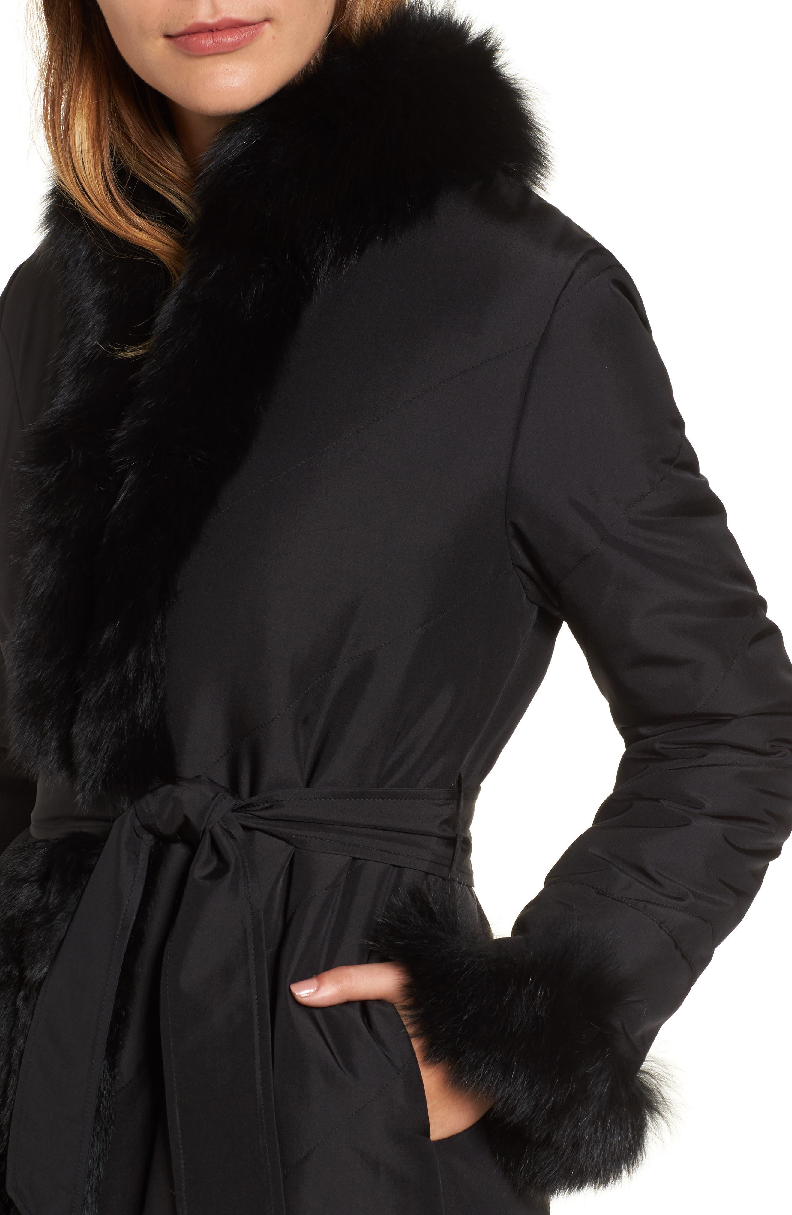 Couture Packable Silk Coat with Genuine Fox Fur & Genuine Rabbit Fur,                             Alternate thumbnail 4, color,                             001