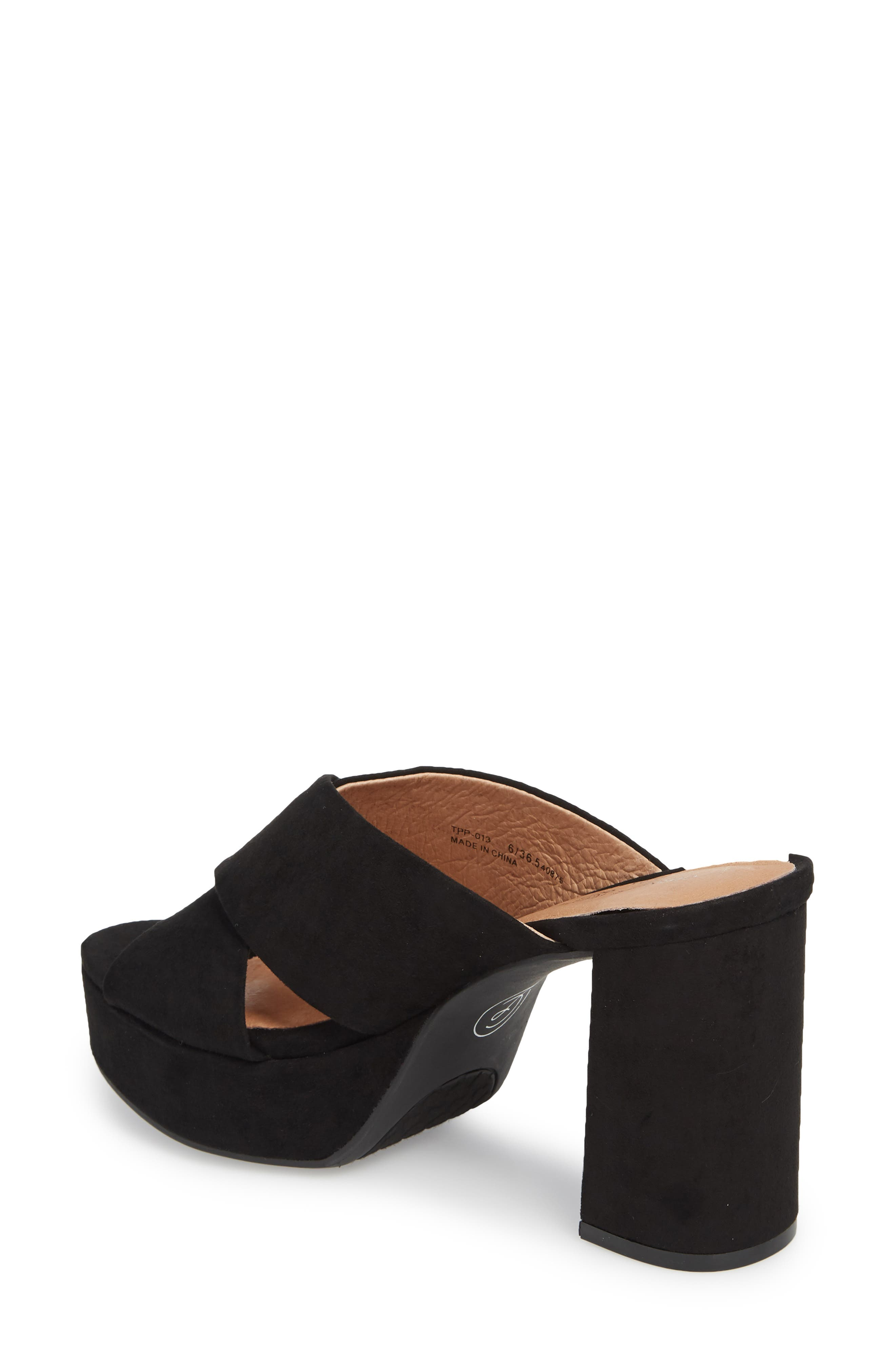 Teagan Cross Strap Platform Sandal,                             Alternate thumbnail 2, color,                             BLACK