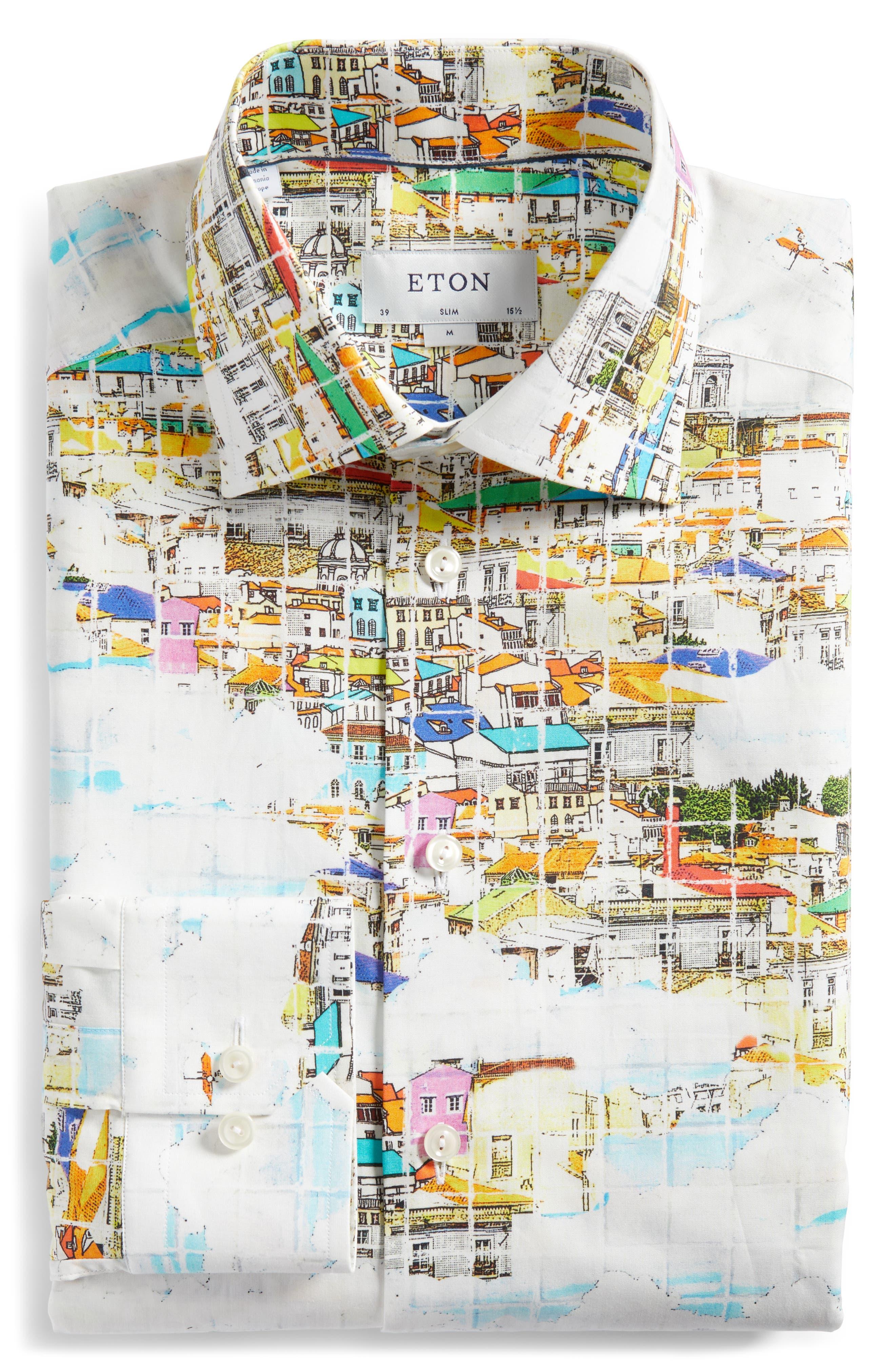 Slim Fit Print Dress Shirt,                             Alternate thumbnail 5, color,                             YELLOW