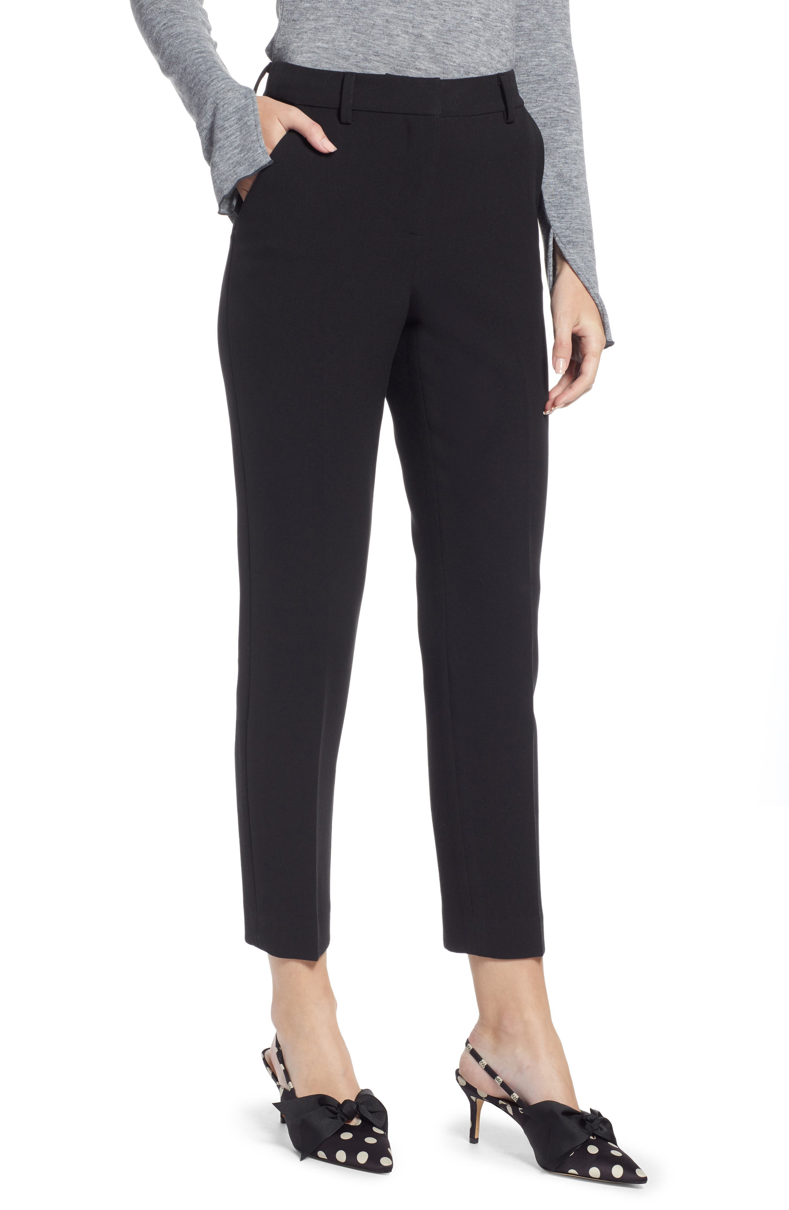 SOMETHING NAVY Flat Front Trousers, Main, color, BLACK