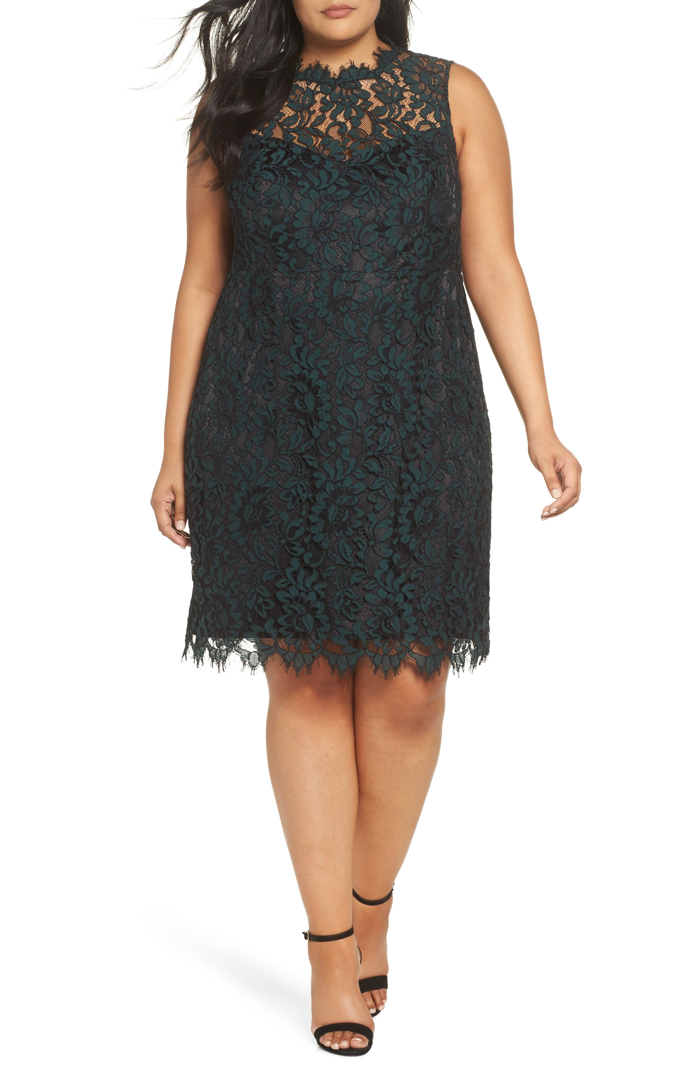 Lace Sheath Dress,                             Main thumbnail 1, color,                             GREEN