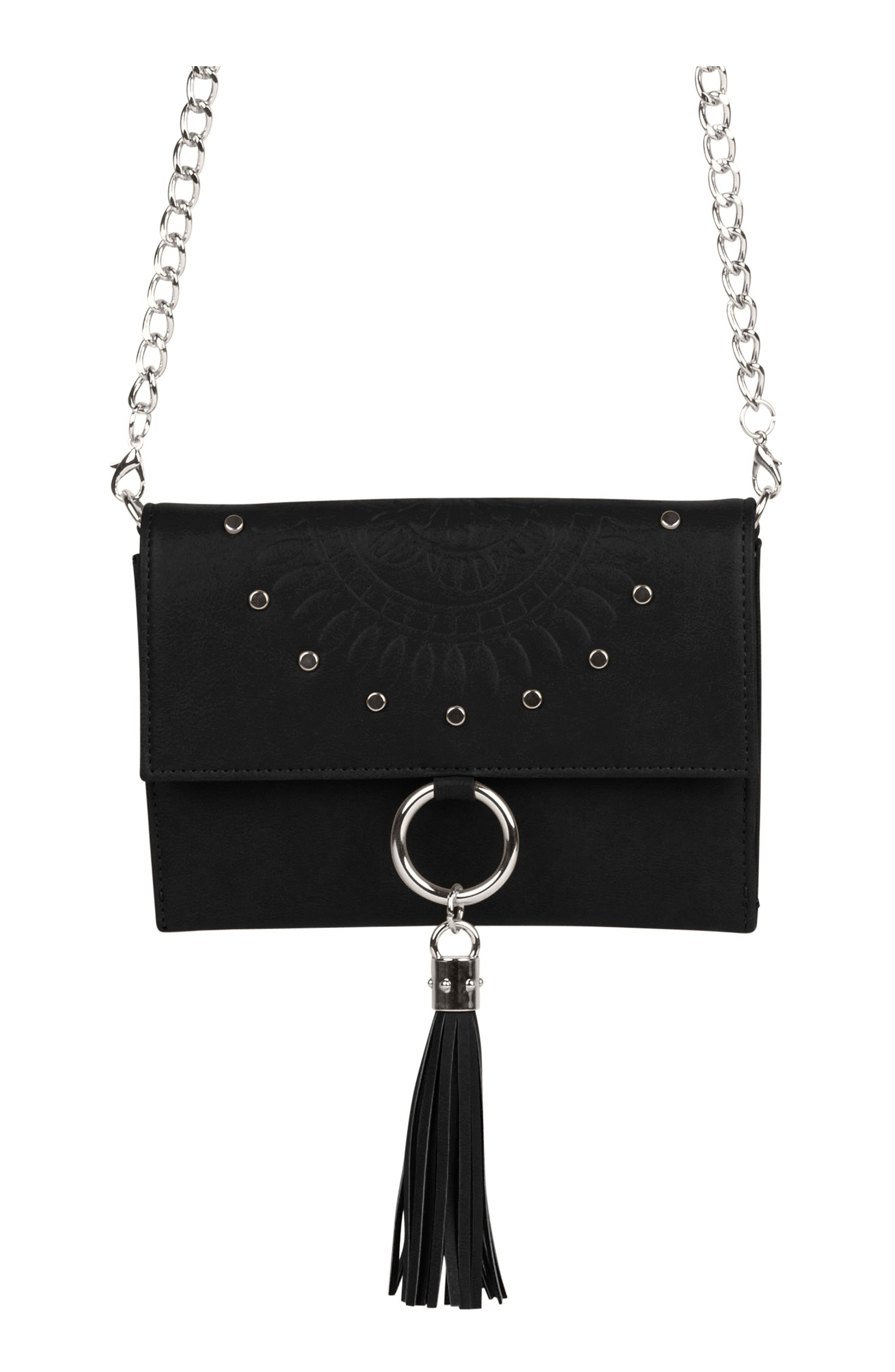 First Love Vegan Leather Crossbody Bag - Black
