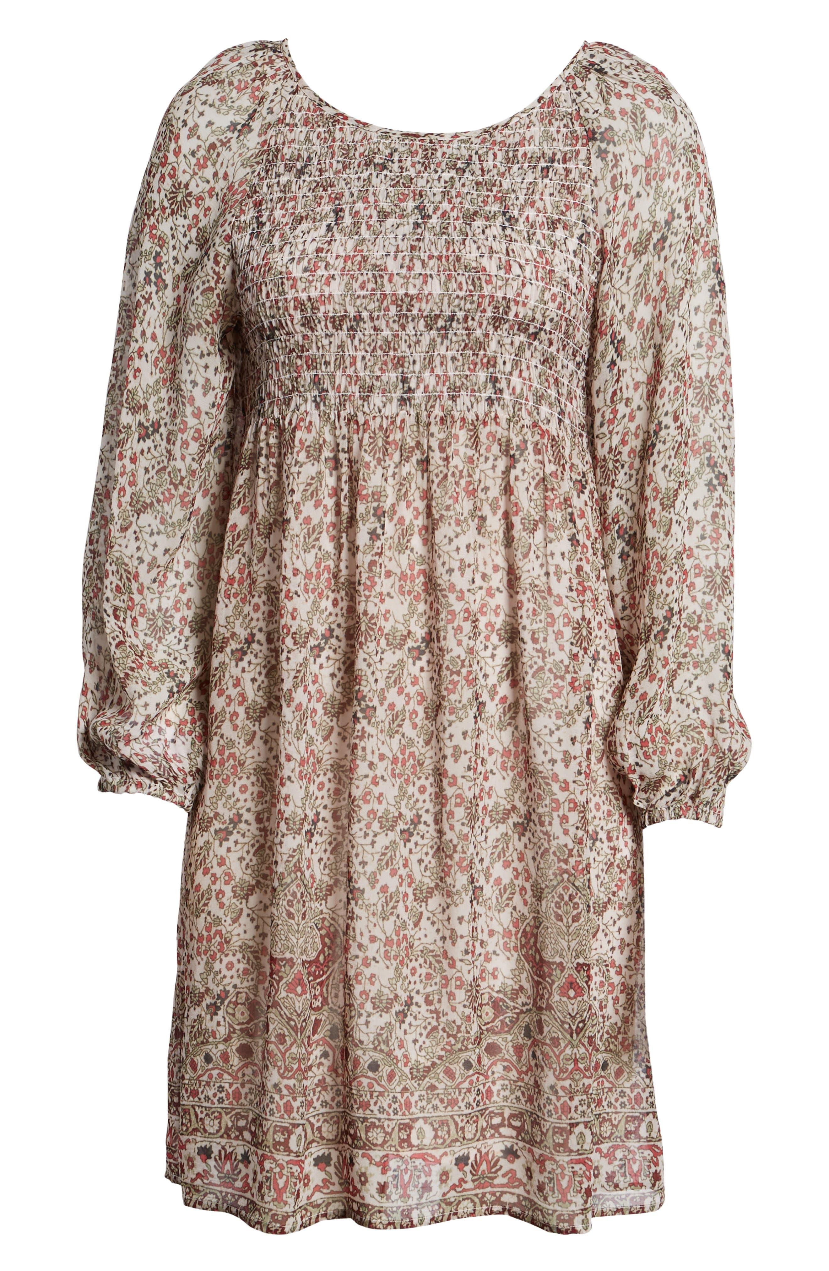 Sebastian Printed Smocked Dress,                             Alternate thumbnail 6, color,                             696