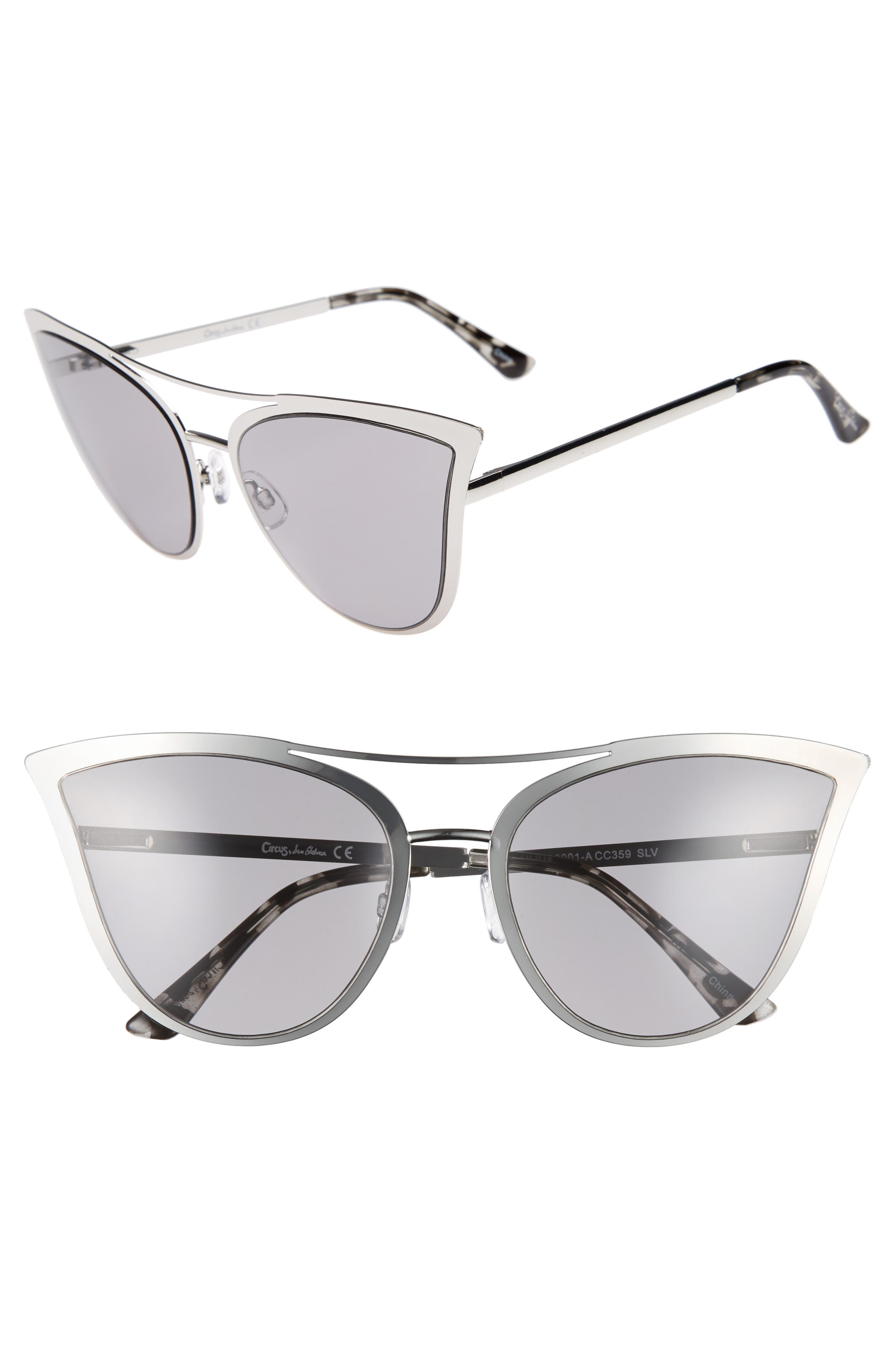 61mm Metal Cat Eye Sunglasses,                             Main thumbnail 2, color,