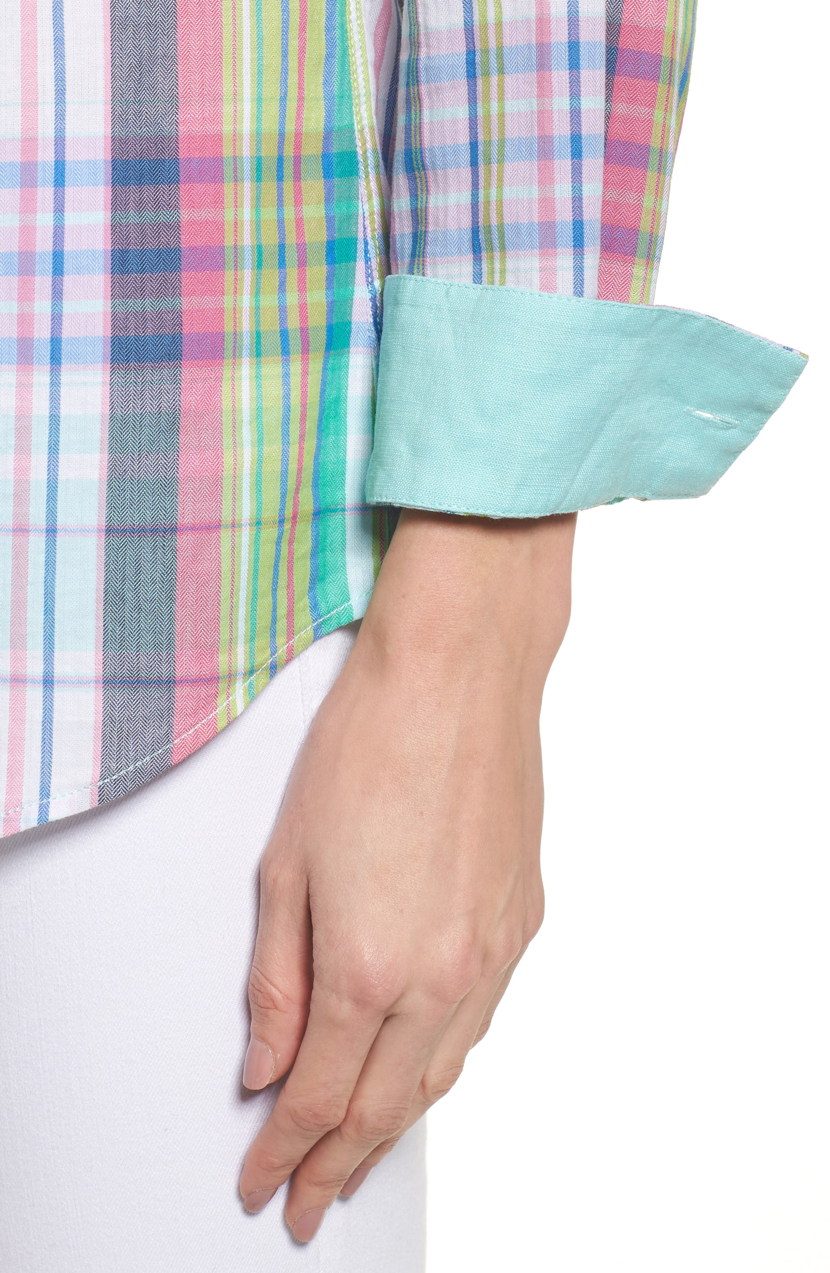 Muffy Madras Button-Up Top,                             Alternate thumbnail 4, color,                             650