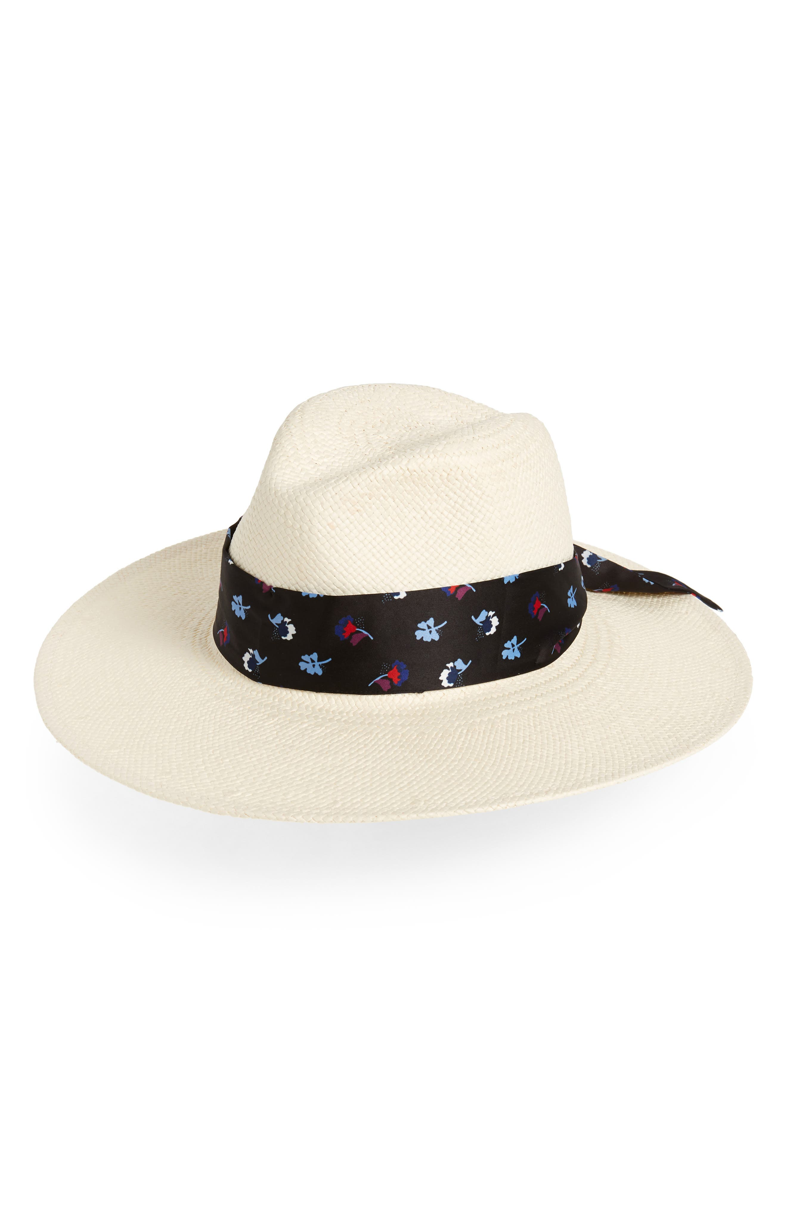 Floral Tie Straw Hat, Main, color, WHITE COMBO
