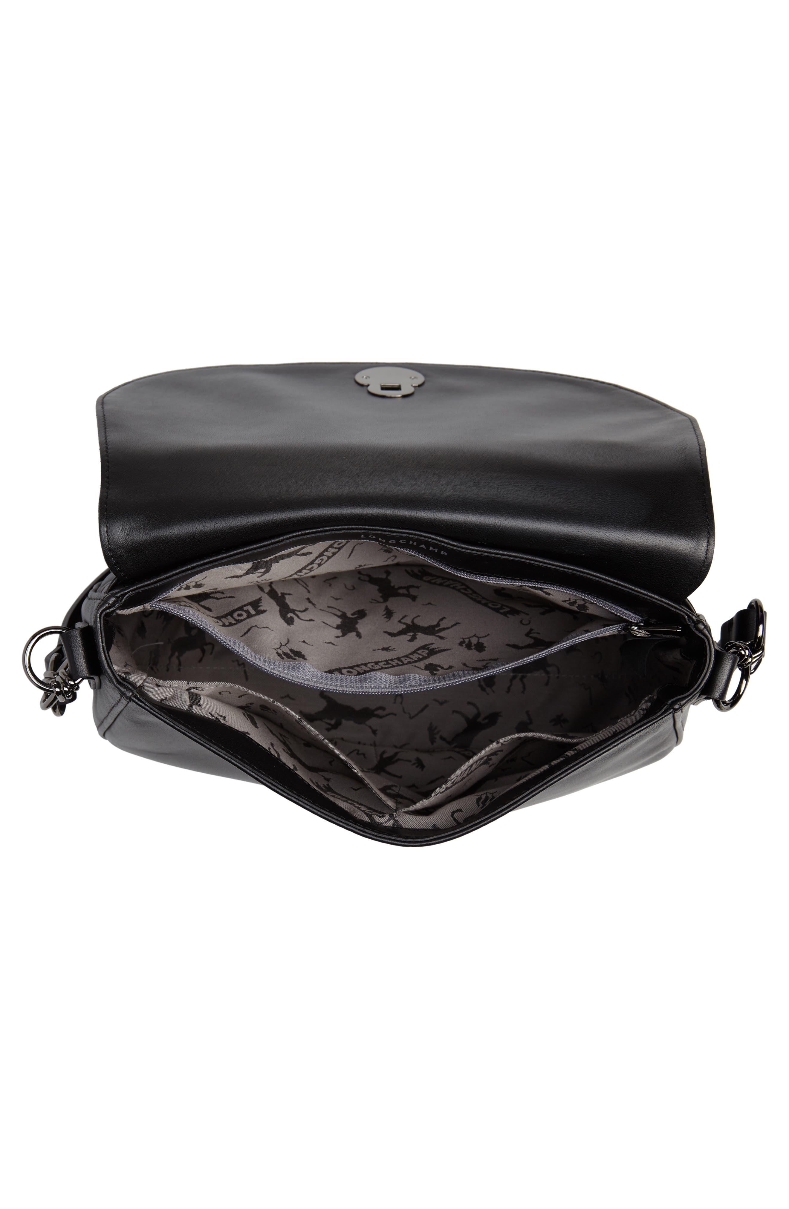 Medium Cavalcade Leather Saddle Bag,                             Alternate thumbnail 4, color,                             BLACK