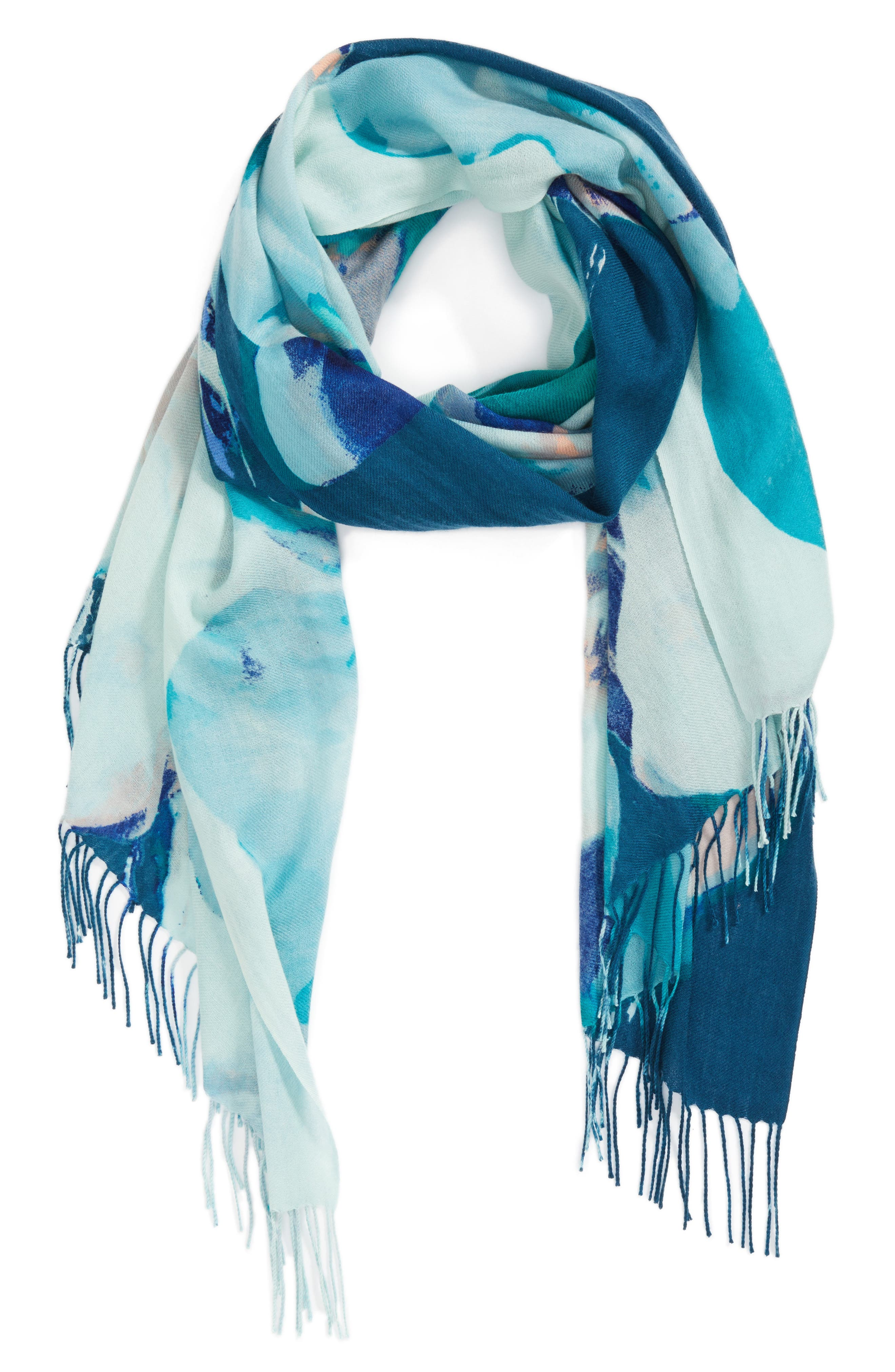 Tissue Print Wool & Cashmere Wrap Scarf,                             Alternate thumbnail 49, color,