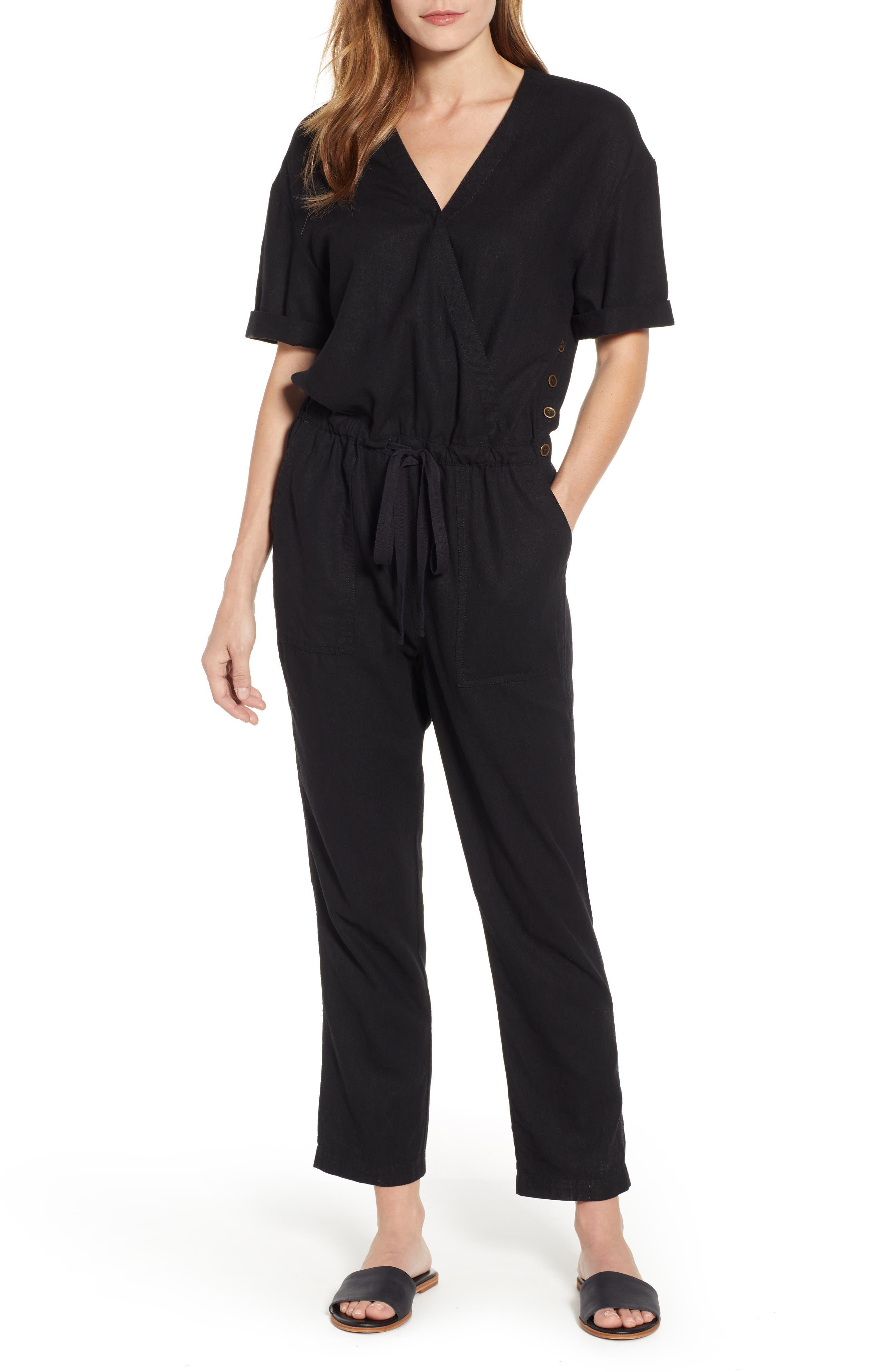 CASLON<SUP>®</SUP> Faux Wrap Jumpsuit, Main, color, BLACK