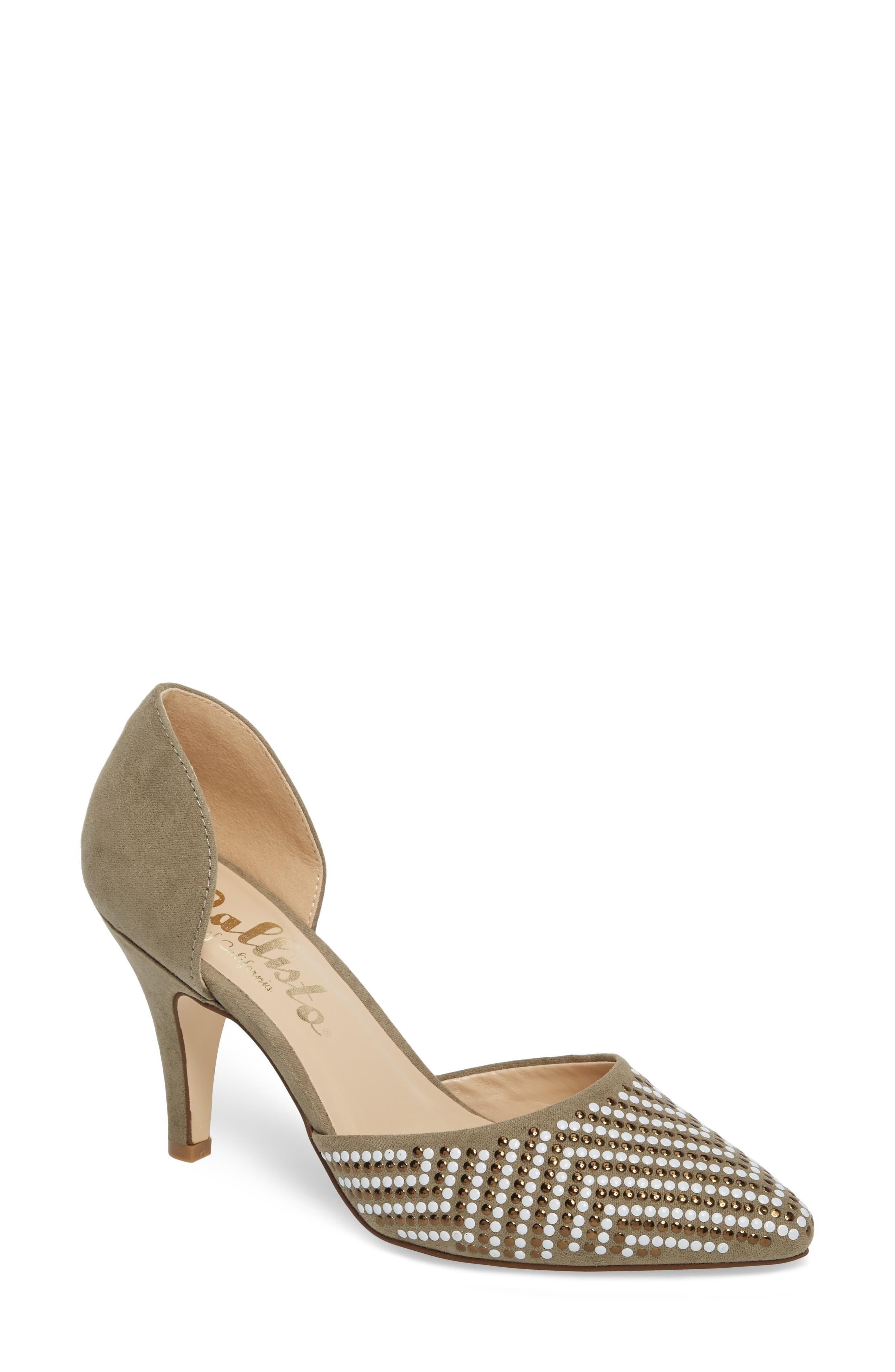 Mimosa Studded d'Orsay Pump,                         Main,                         color, OLIVE SUEDE