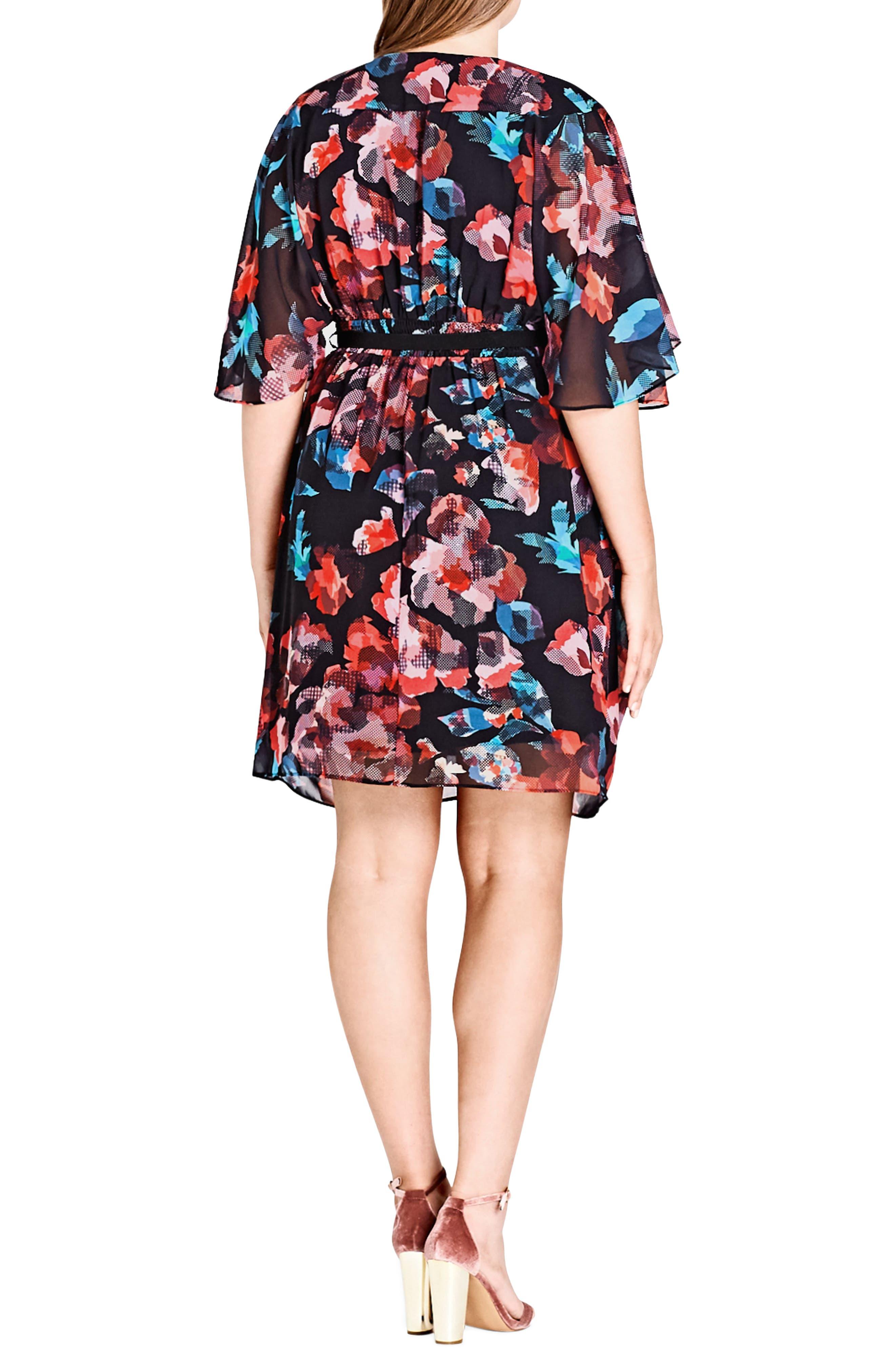 Geo Print Faux Wrap Dress,                             Alternate thumbnail 2, color,                             801