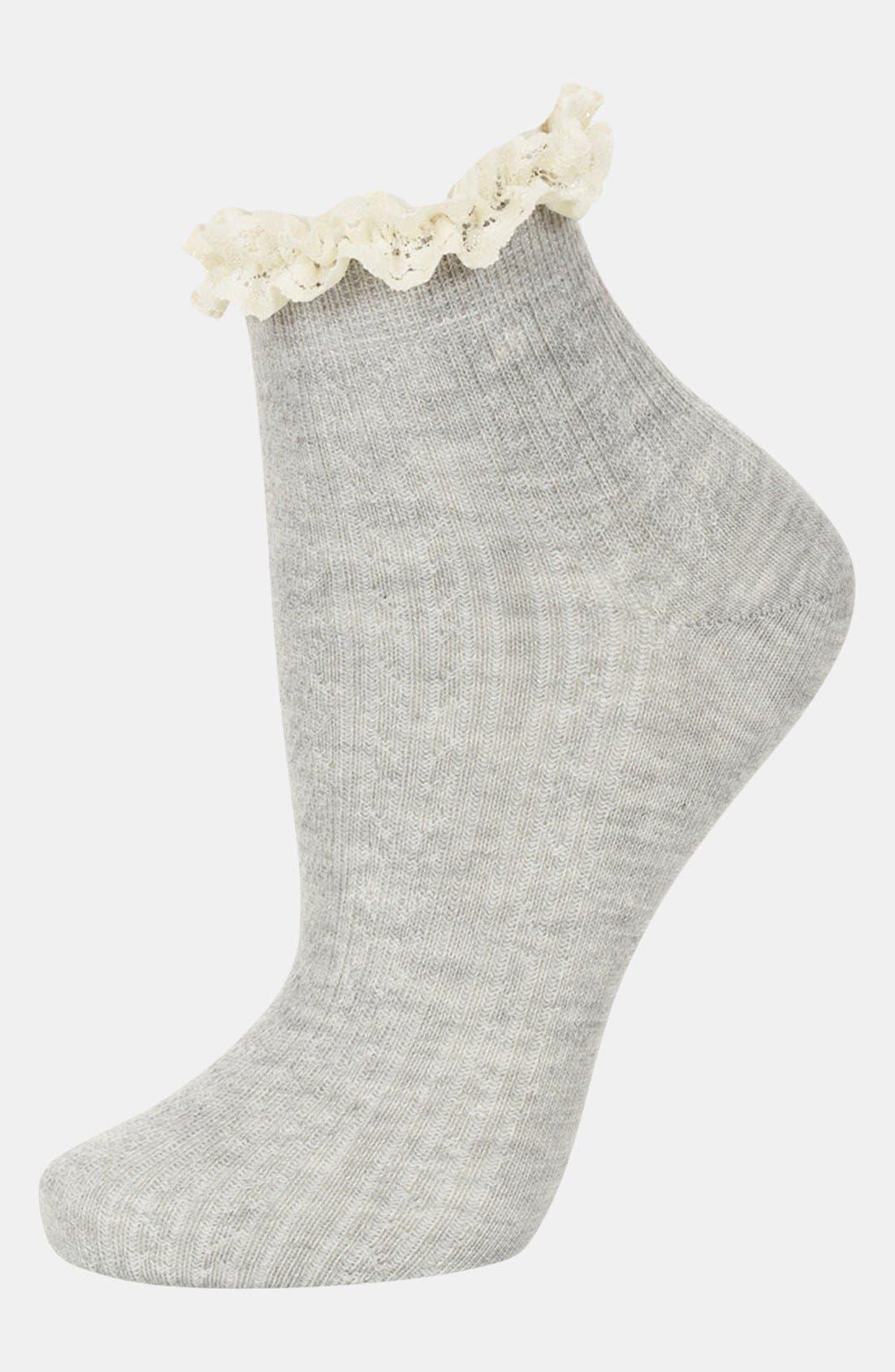 Lace Trim Ankle Socks,                             Main thumbnail 3, color,