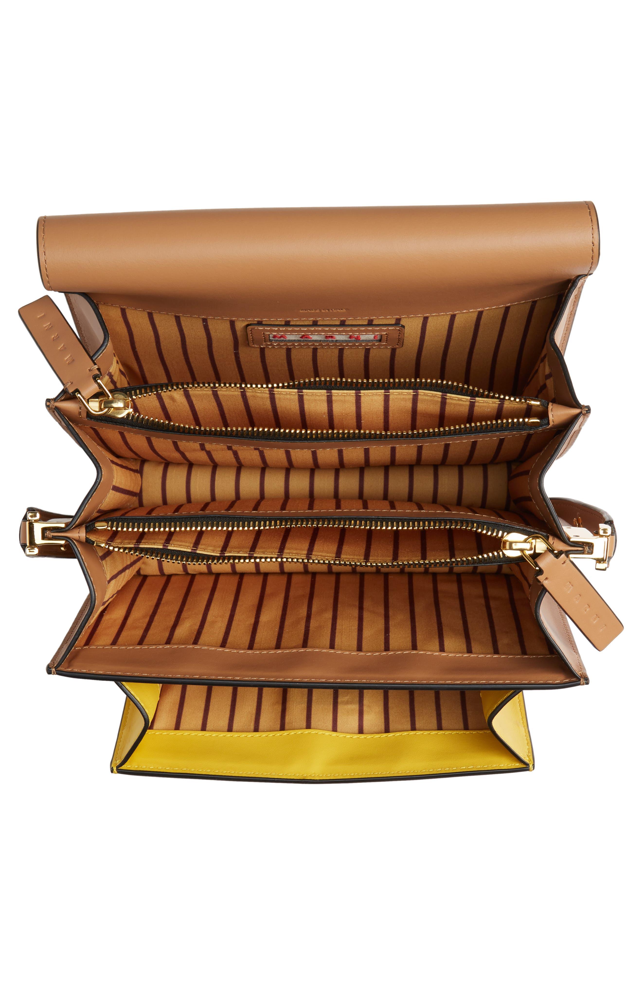 MARNI,                             Trunk Colorblock Leather Shoulder Bag,                             Alternate thumbnail 4, color,                             QUARTZ/ SUNO/ POMPEII