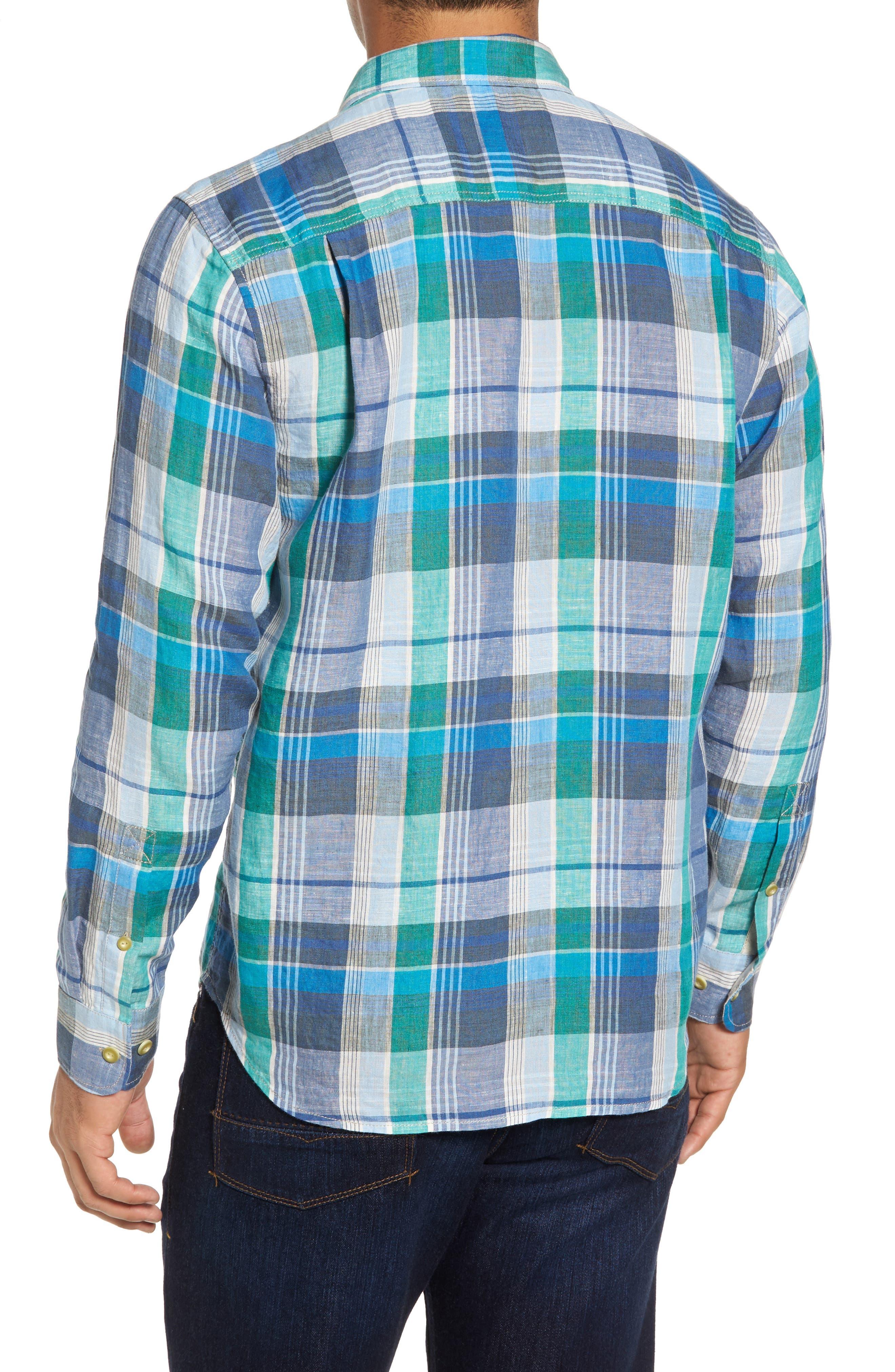 TOMMY BAHAMA,                             Vero Beach Madras Plaid Linen Sport Shirt,                             Alternate thumbnail 2, color,                             300