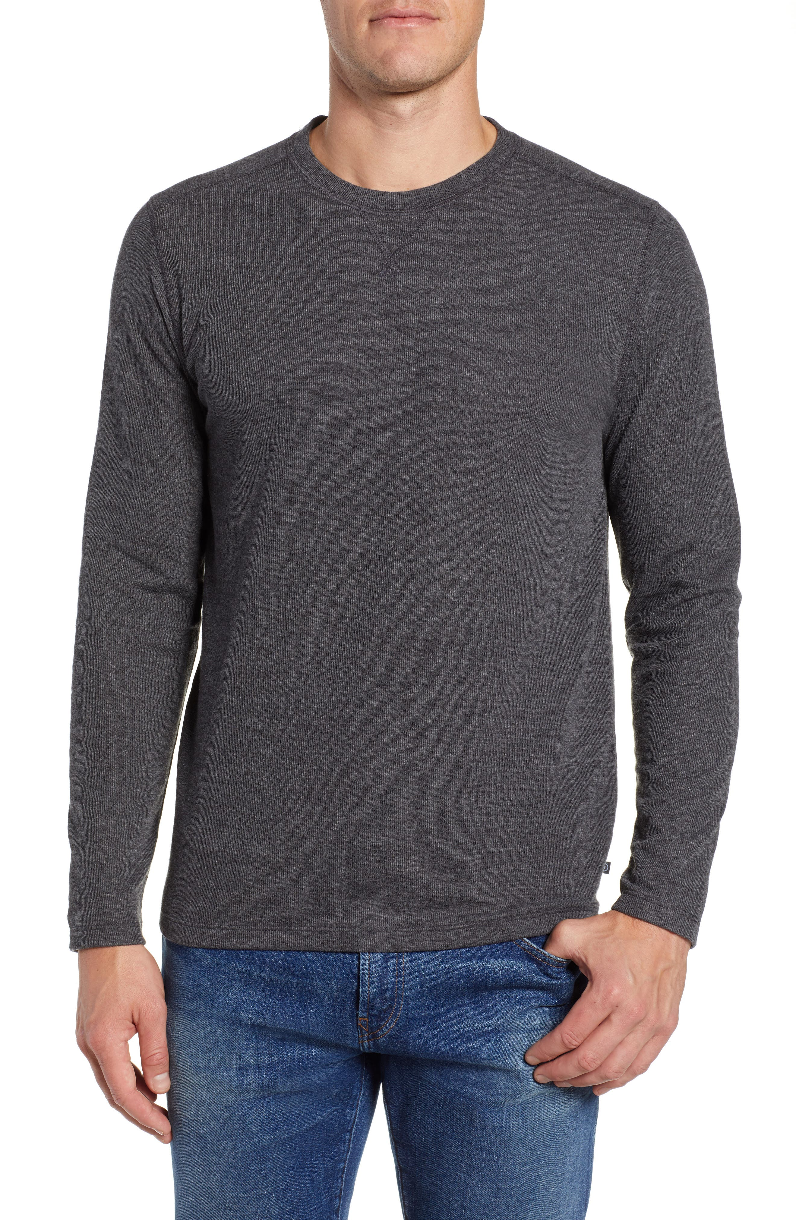 Slim Fit Ribbed Double Face T-Shirt, Main, color, 001