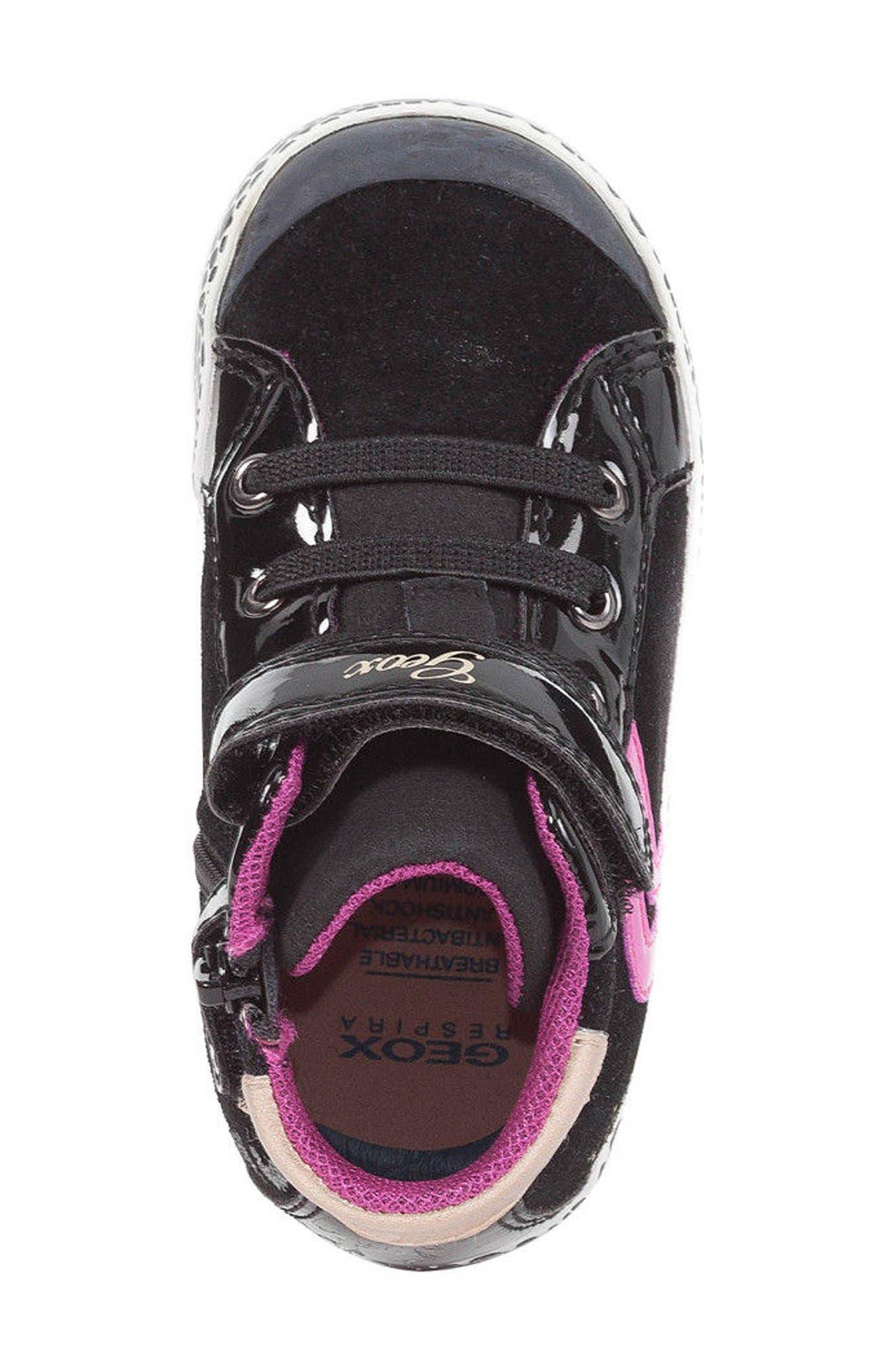 GEOX,                             Kiwi Girl High Top Sneaker,                             Alternate thumbnail 5, color,                             001