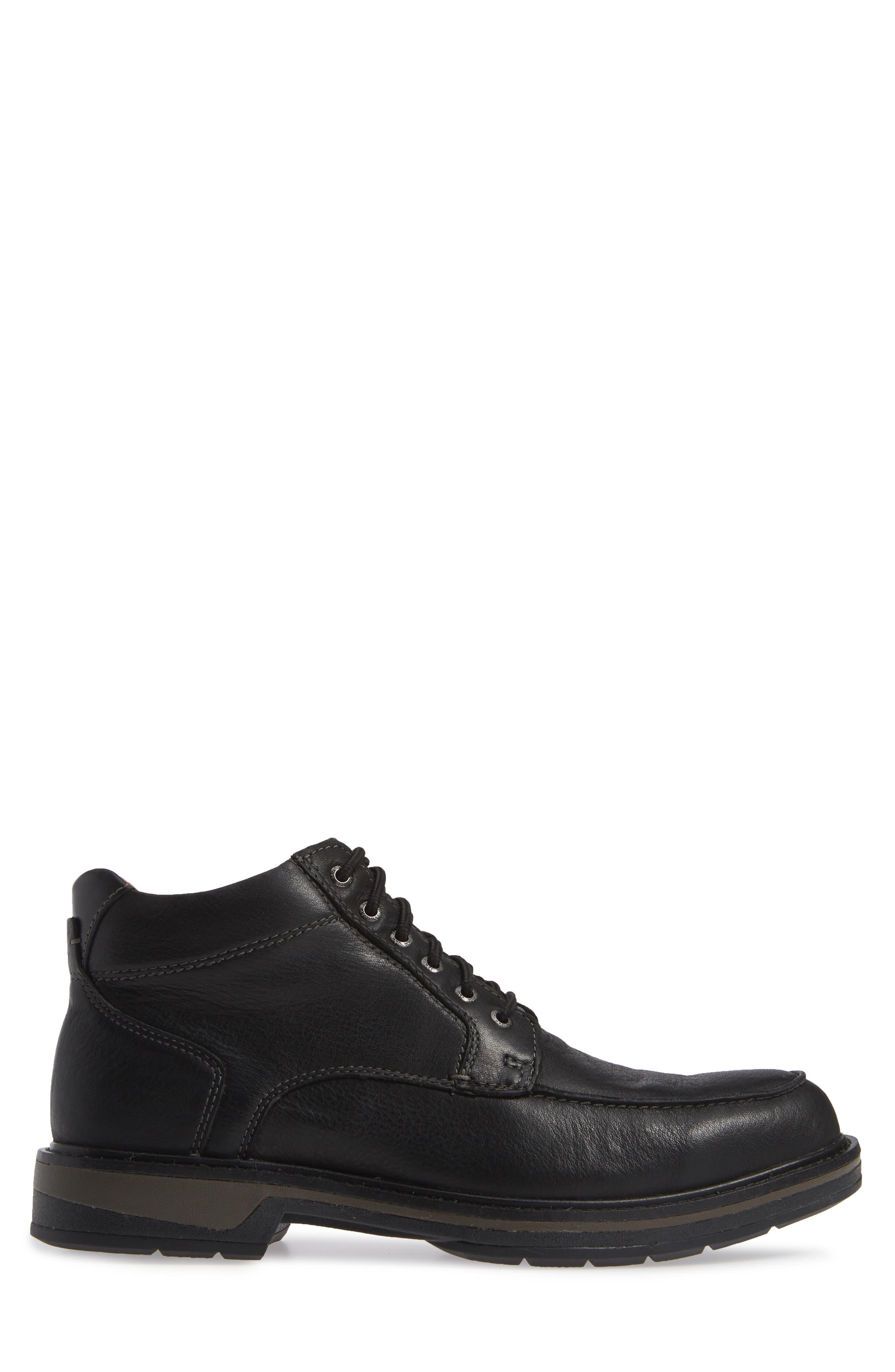 Rutledge Waterproof Moc Toe Boot,                             Alternate thumbnail 3, color,                             BLACK LEATHER