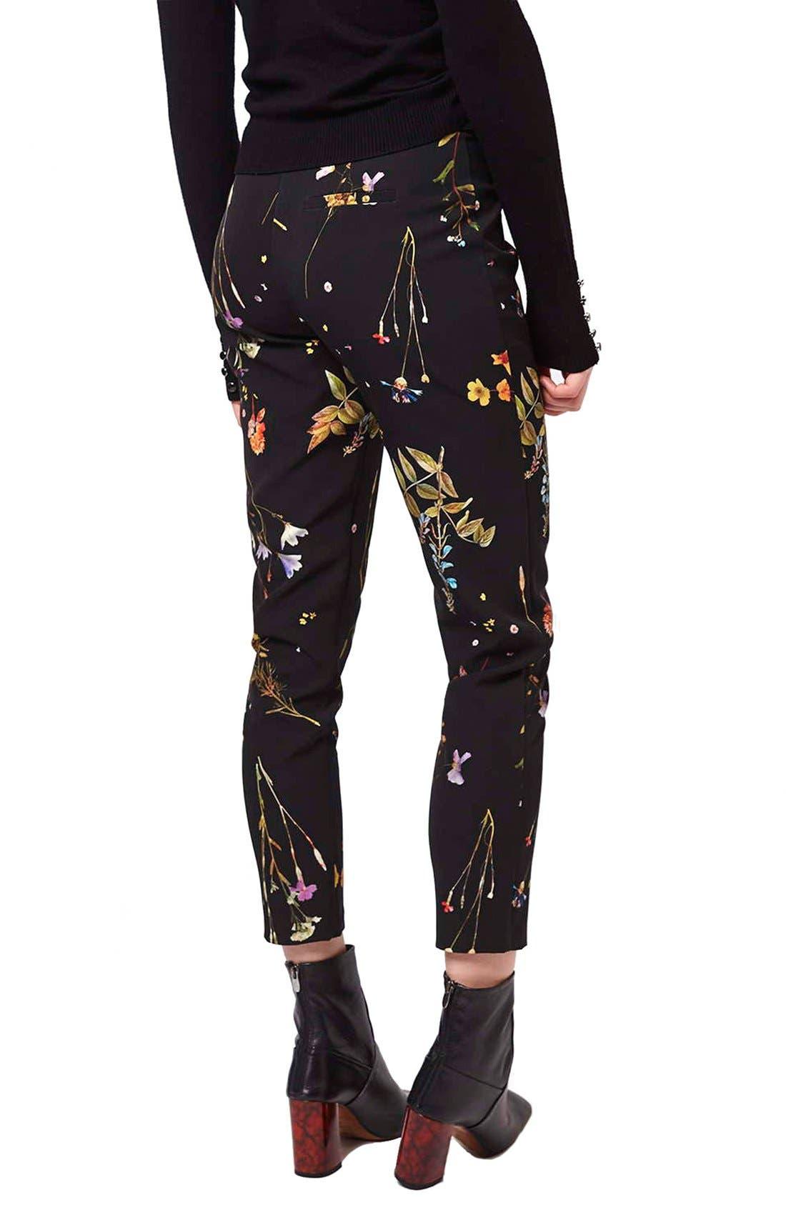 Floral Crop Cigarette Pants,                             Alternate thumbnail 6, color,                             001