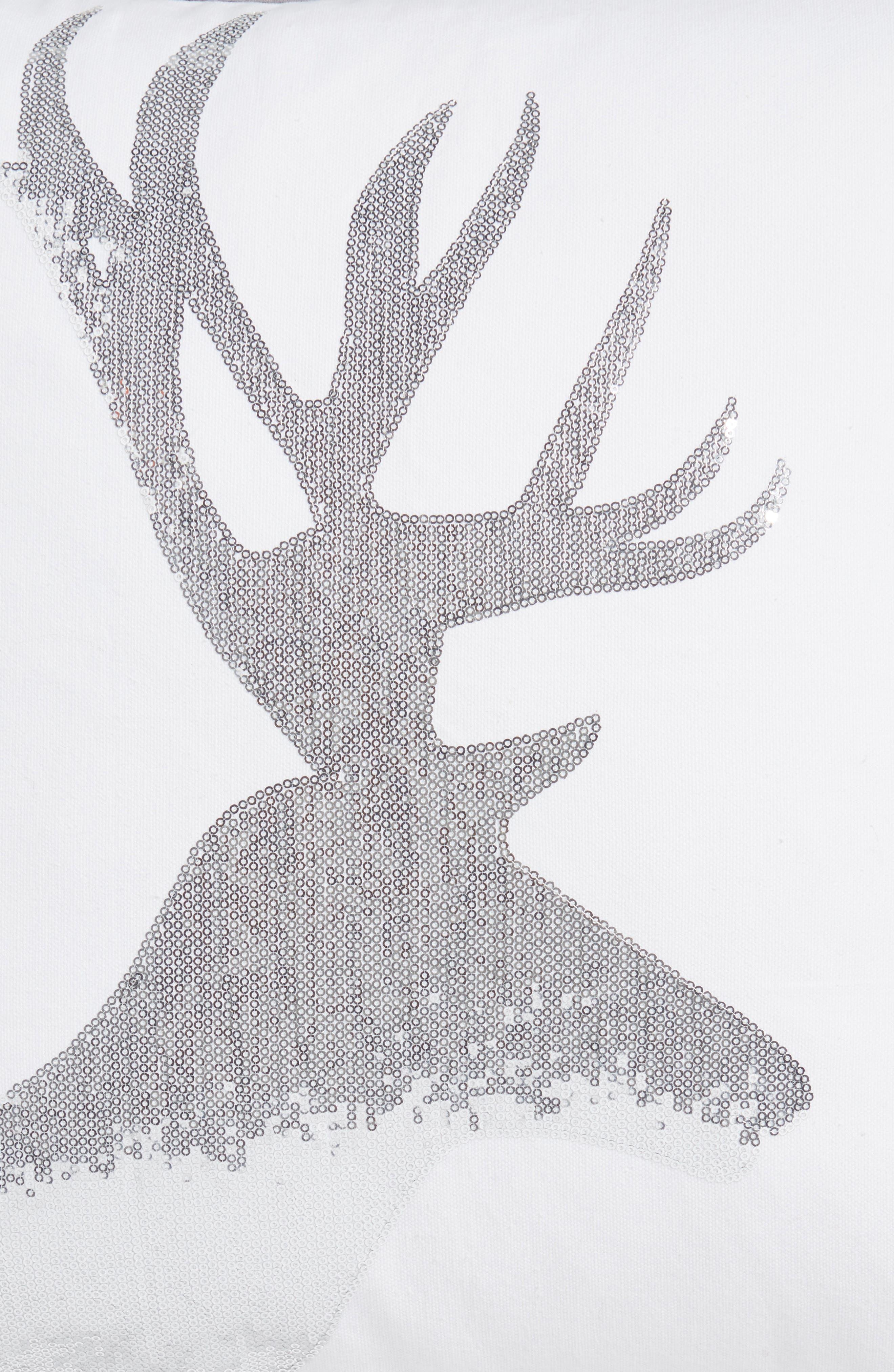 Sequin Reindeer Pillow,                             Alternate thumbnail 3, color,                             100