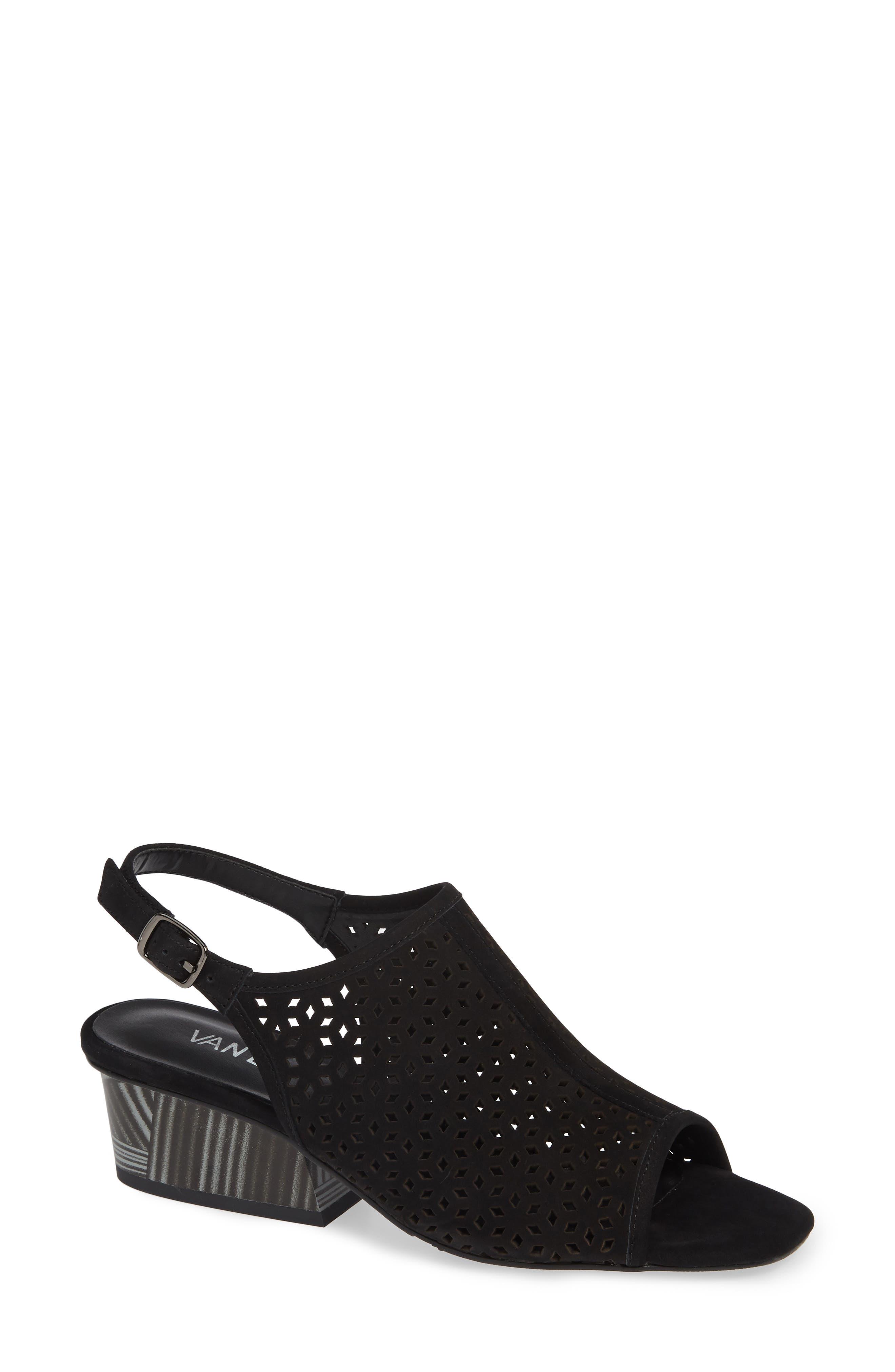 Candra Perforated Sandal,                             Main thumbnail 1, color,                             BLACK NUBUCK LEATHER