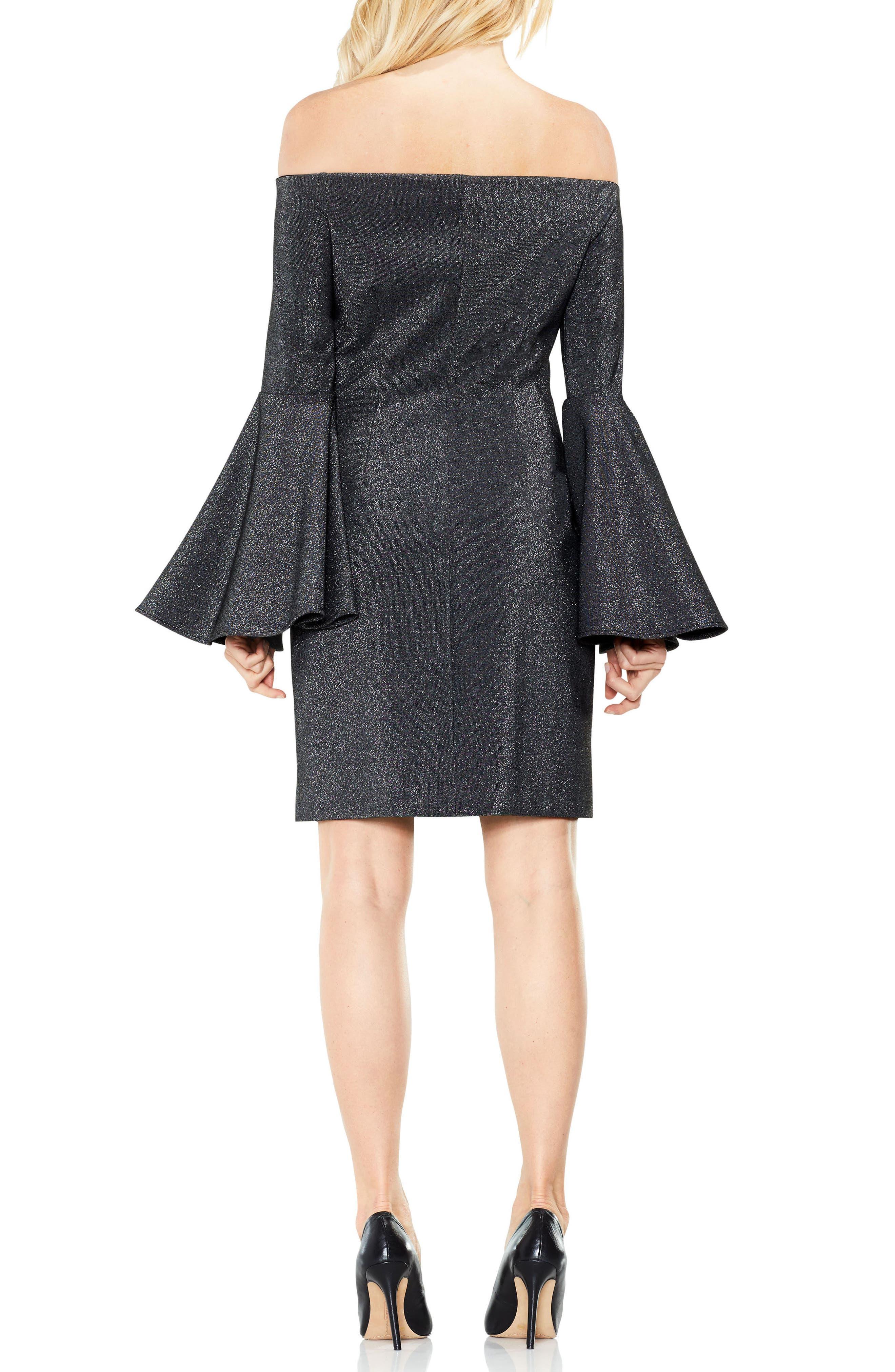 Off the Shoulder Metallic Knit Dress,                             Alternate thumbnail 2, color,                             006