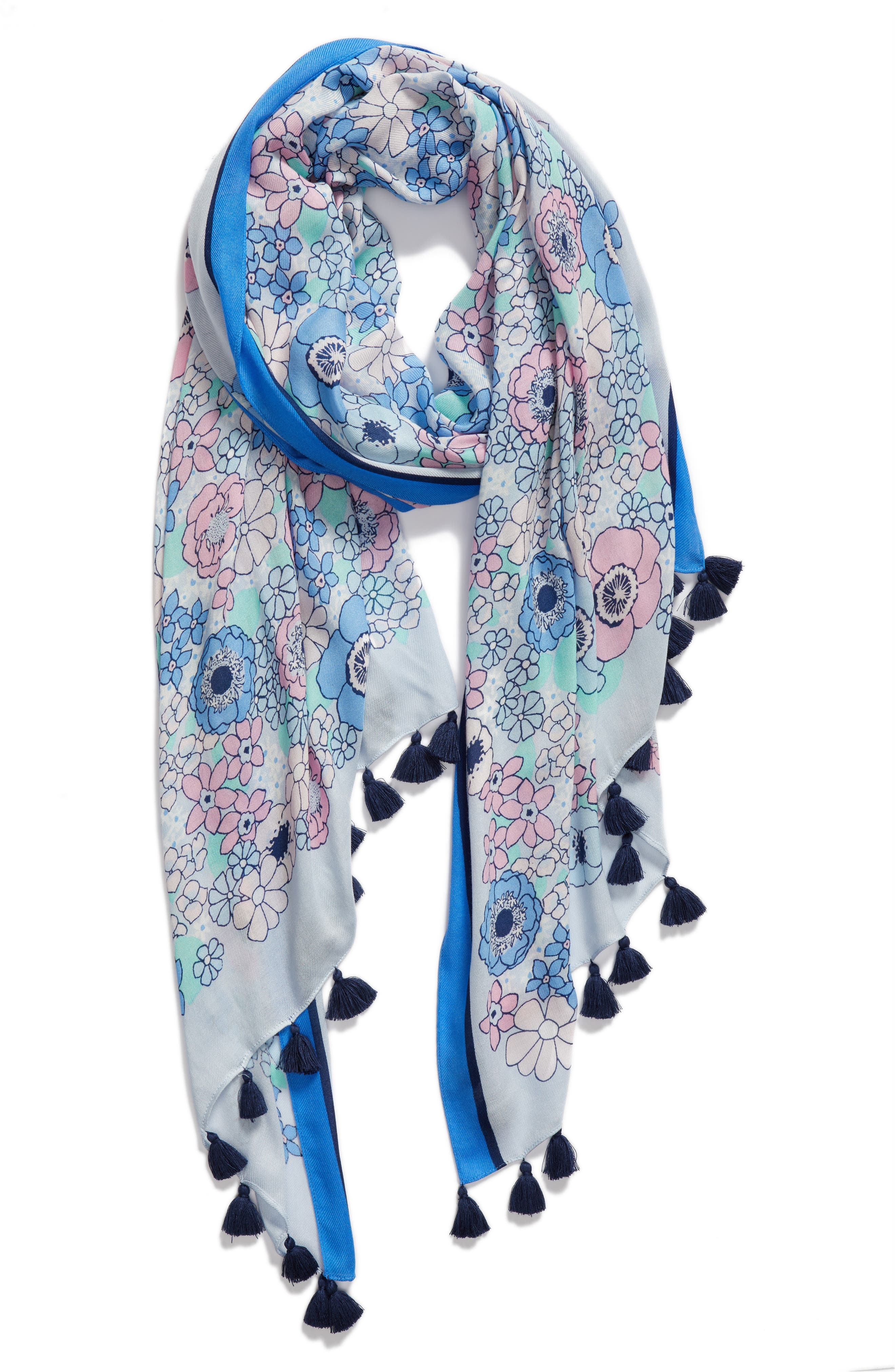 cactus flower oblong scarf,                             Alternate thumbnail 2, color,                             BAYSIDE BLUE