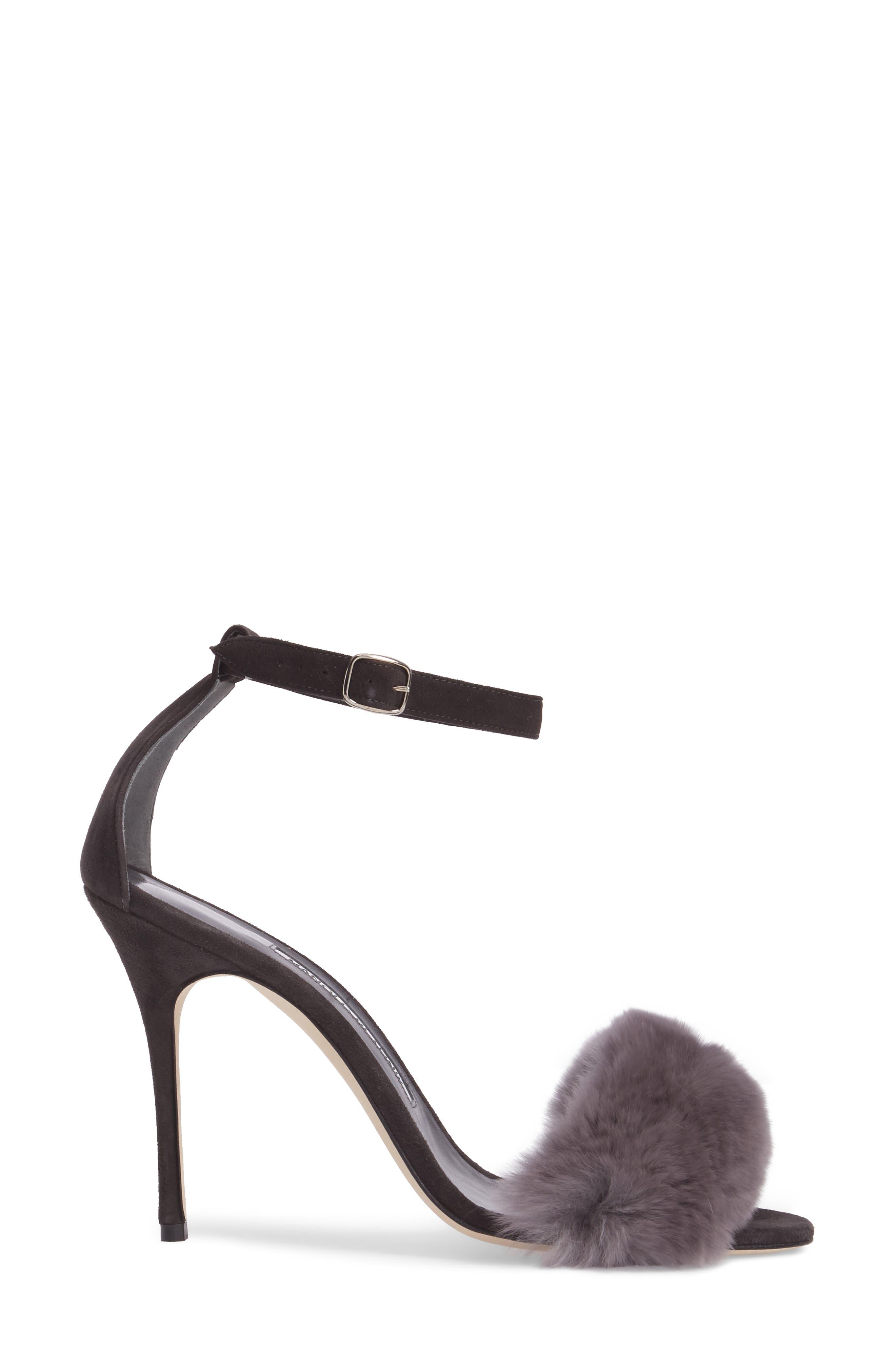 Mincha Genuine Rabbit Fur Sandal,                             Alternate thumbnail 3, color,                             035