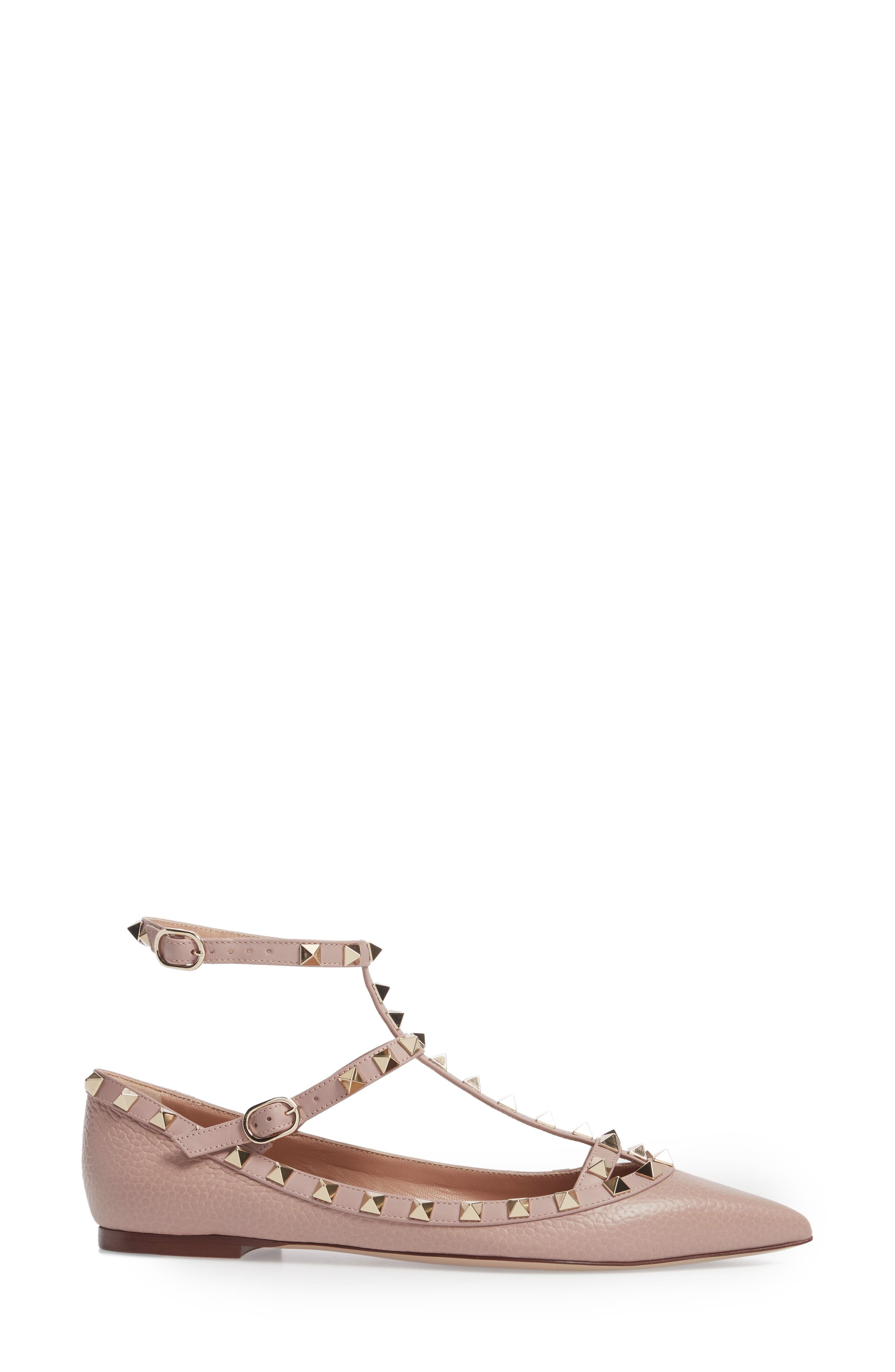 Rockstud Ankle Strap Pointy Toe Flat,                             Alternate thumbnail 3, color,                             BEIGE